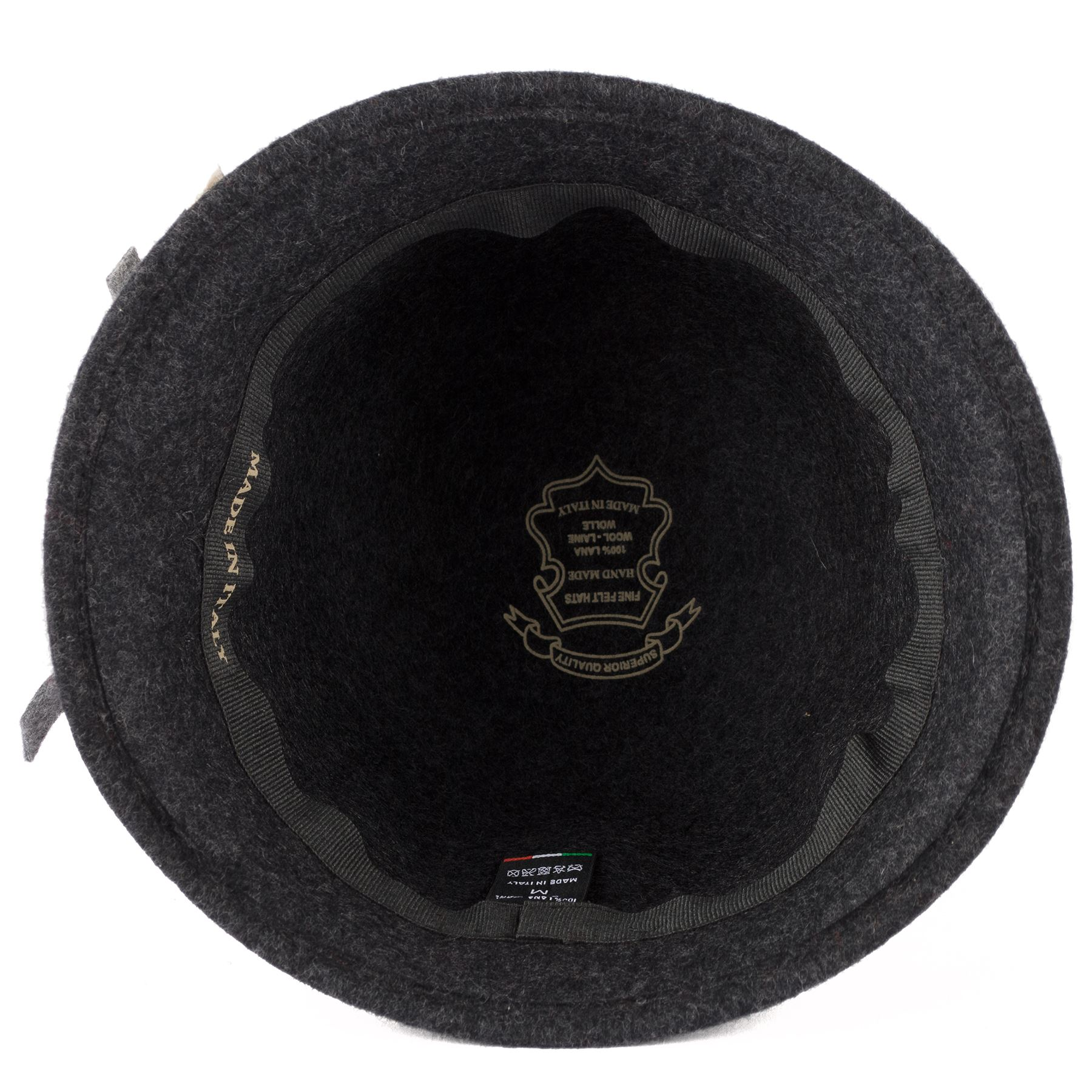 Ladies 100/% Wool Cloche Hat with Three Colour Felt Band Handmade in Italy