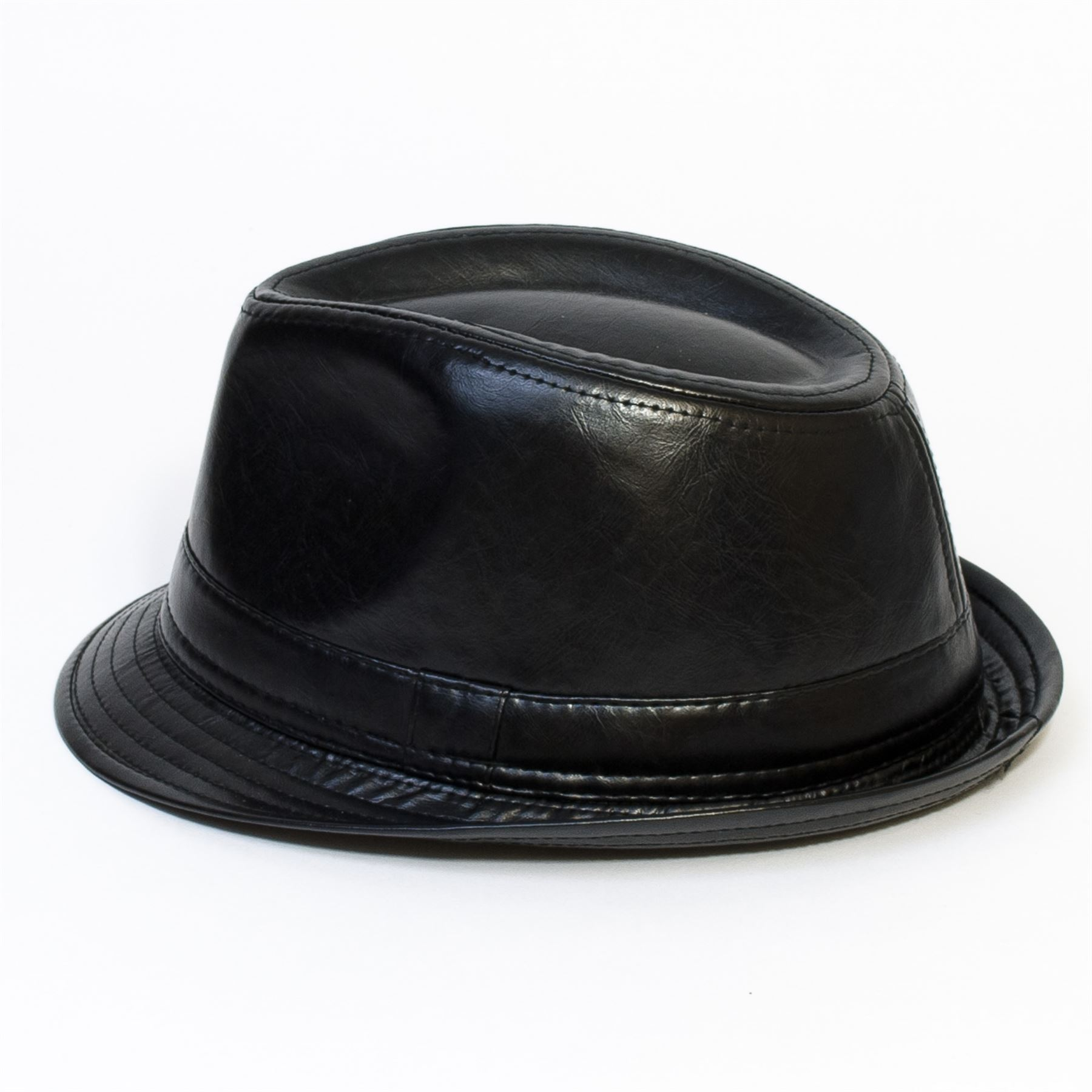 Plain Black Faux Leather Trilby Hat  b3910657704