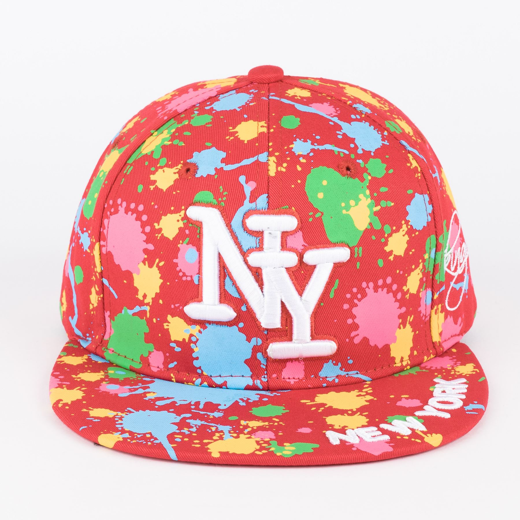 a327627b626 NY on Paint Splash Snapback Embroidered Hip hop Hat