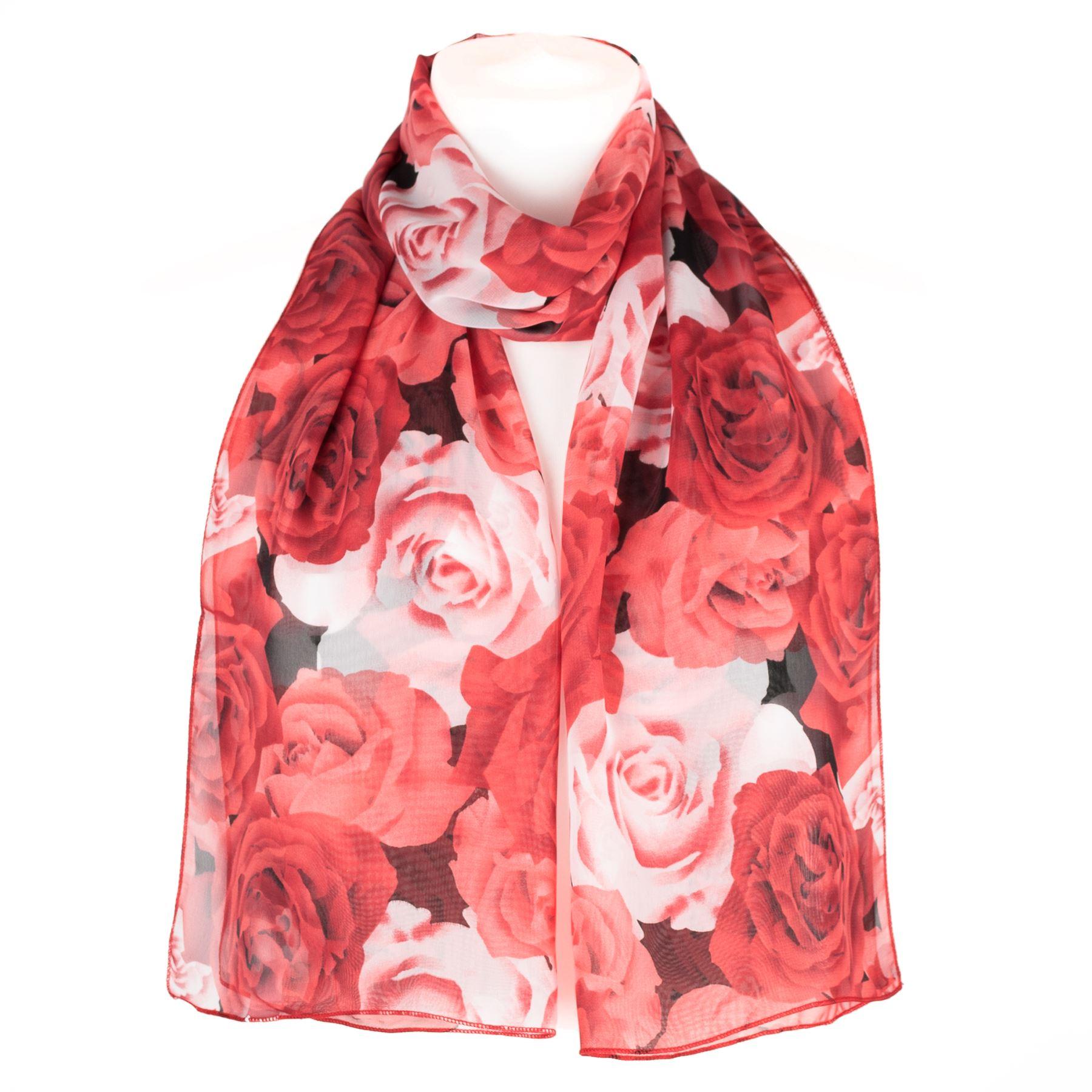 Filles-Femmes-echarpe-en-mousseline-foulard-imprime-rose-chale-enveloppant