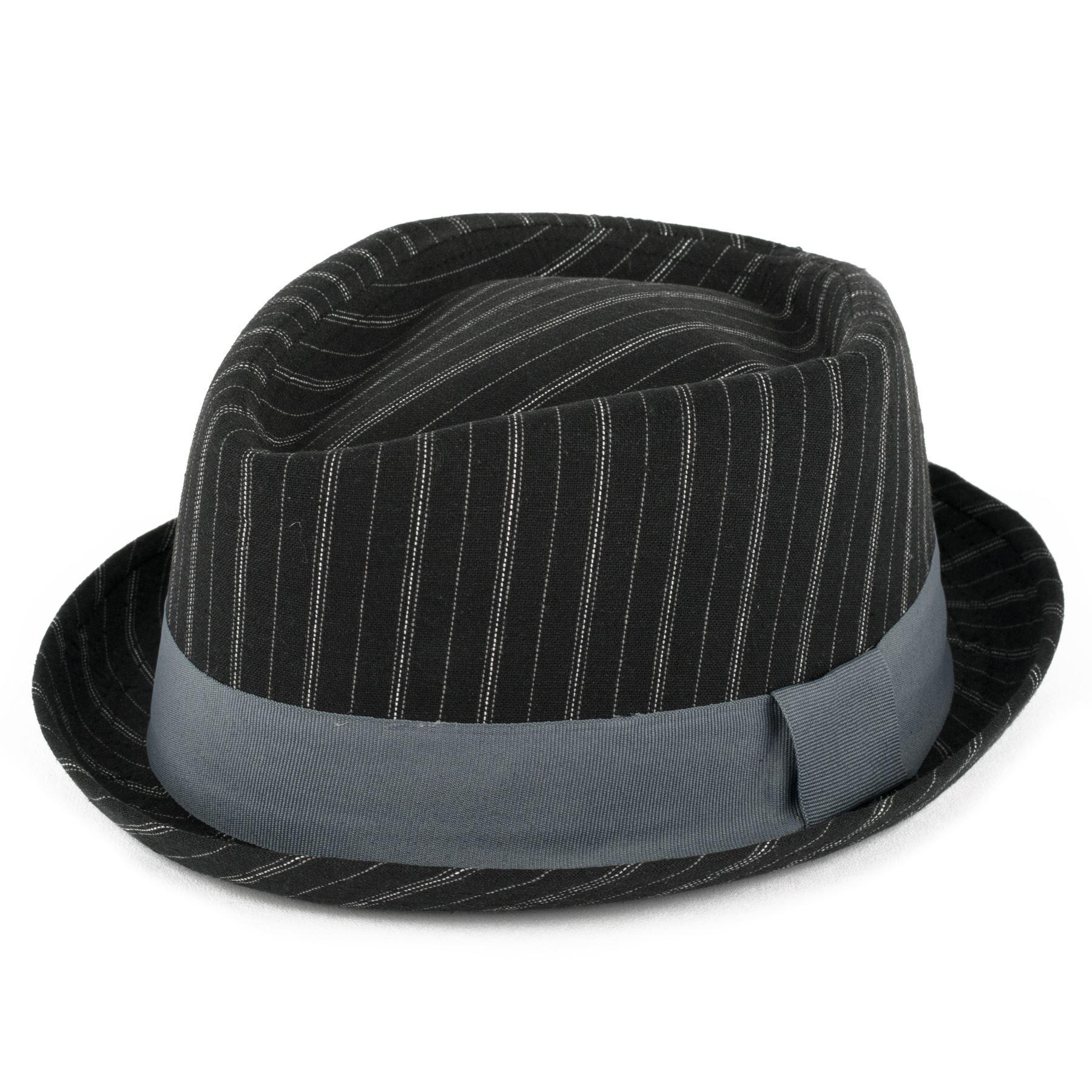 041c33912fd Diamond Shaped Pinstriped Summer Pork Pie Hat Black 59 Cm