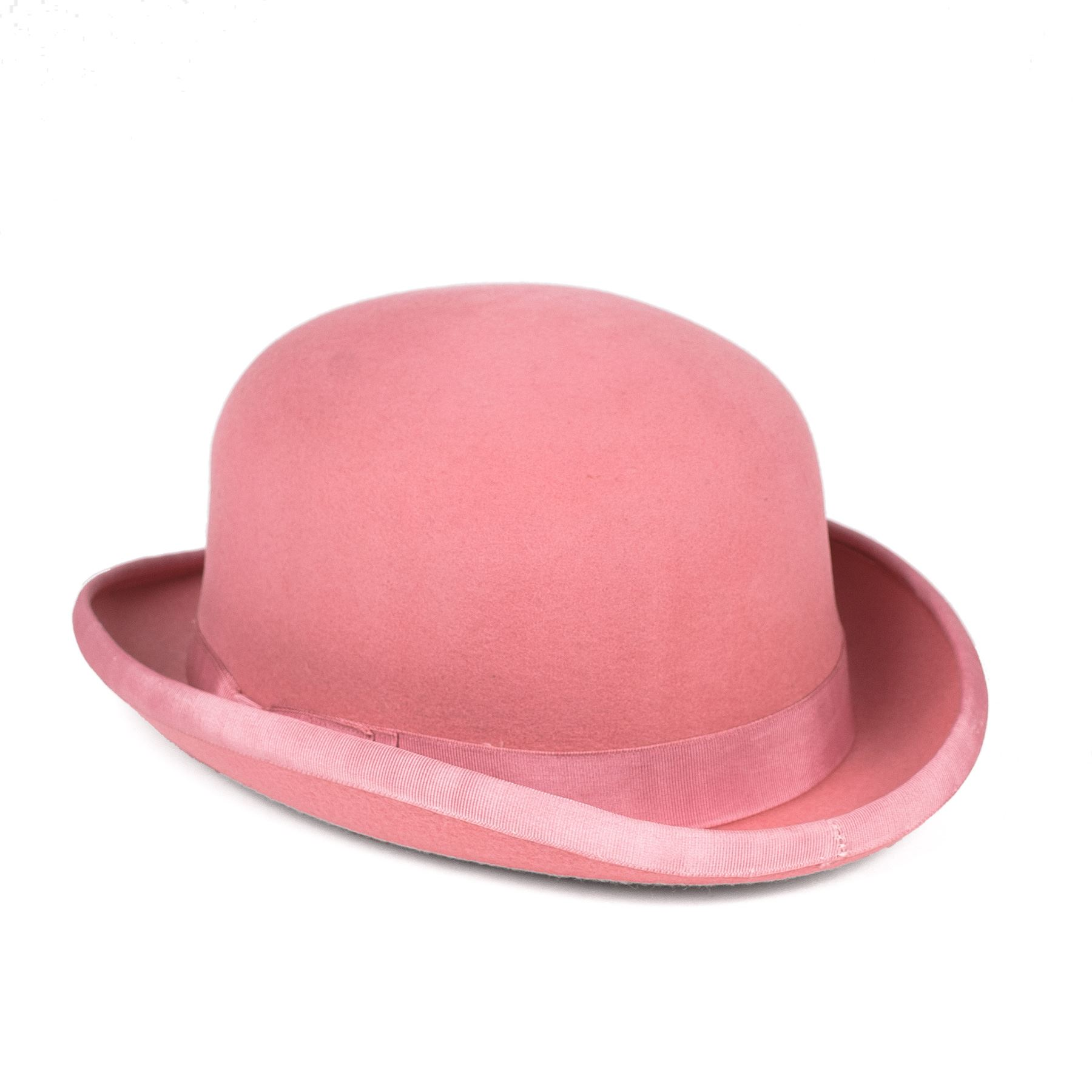 0cd0f4e1392c3 Classic 100 Wool Satin Lined Pink Bowler Hat Edged With Grosgrain Ribbon    Bow 59 Cm. About this product. Picture 1 of 2  Picture 2 of 2