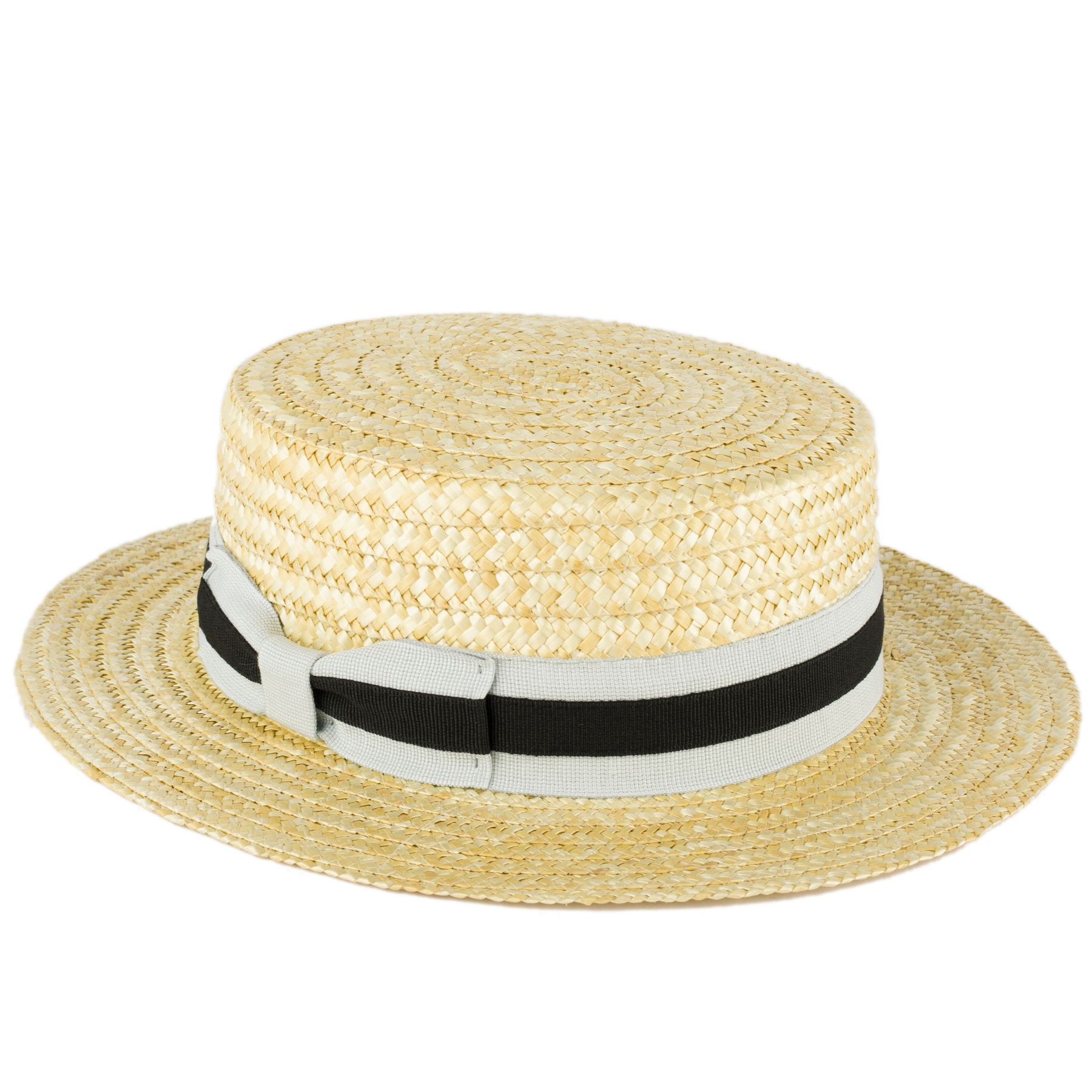 3c9815edaa8fb The Classic Straw Boater is a flat-brimmed, flat-topped straw hat in a very  dark gray.