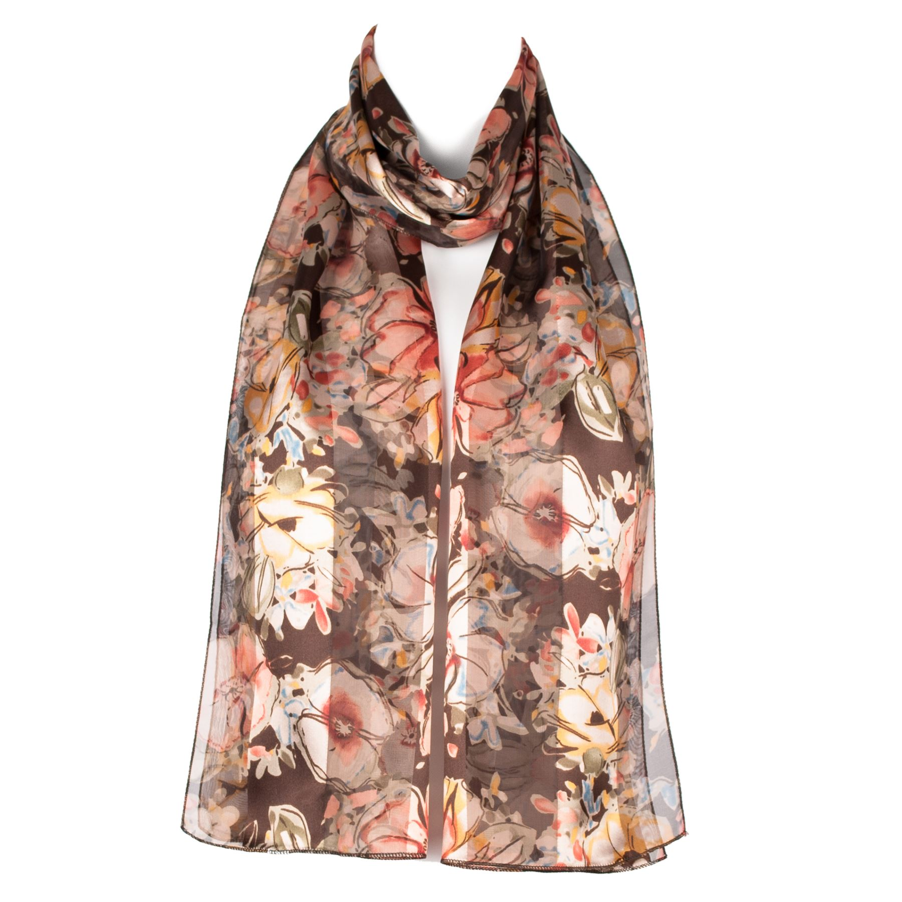 chiffon satin flower design womens scarf shawl ebay
