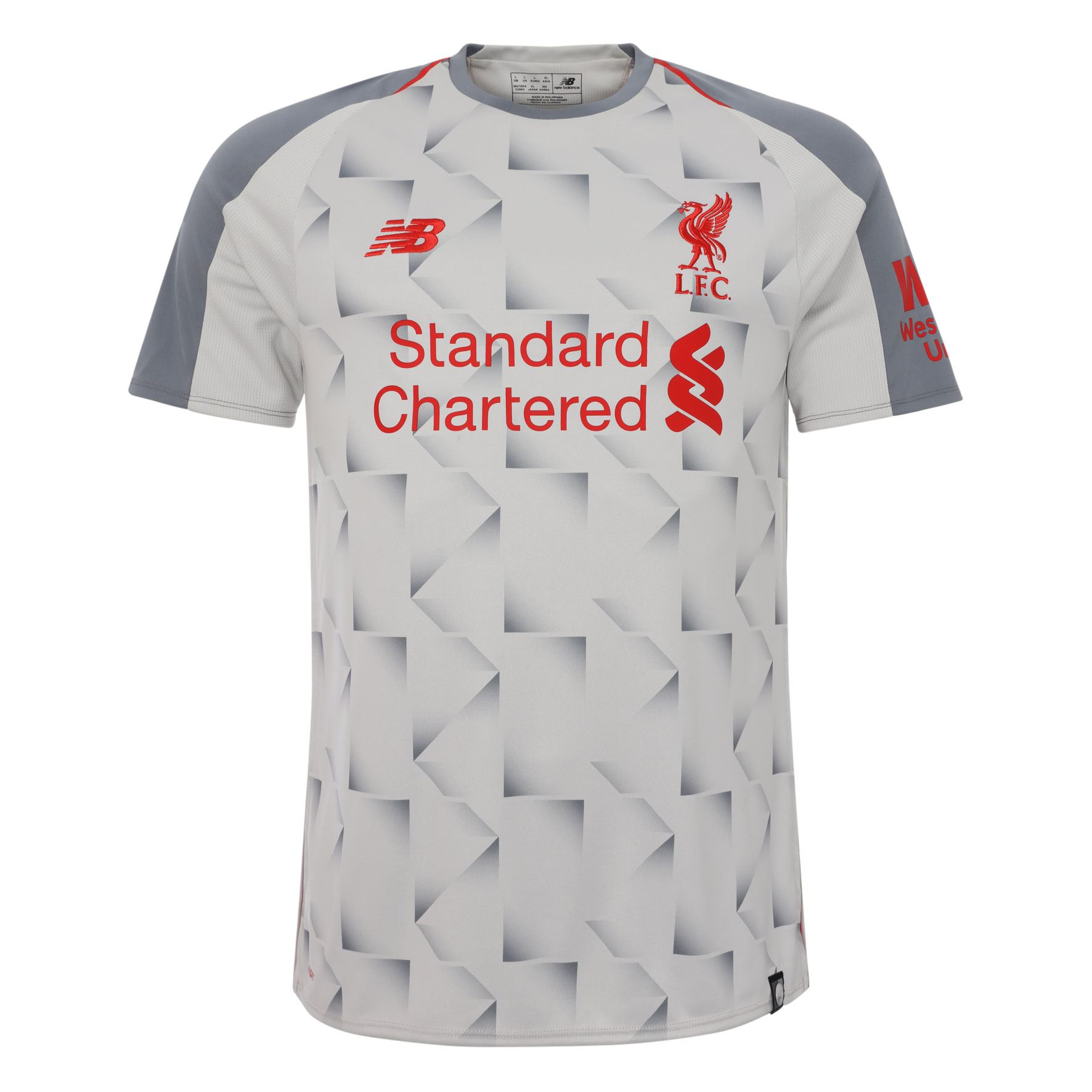 6730a04f896 Details about Liverpool FC Short Sleeve Grey Mens Soccer Third Jersey 18 19  LFC Official