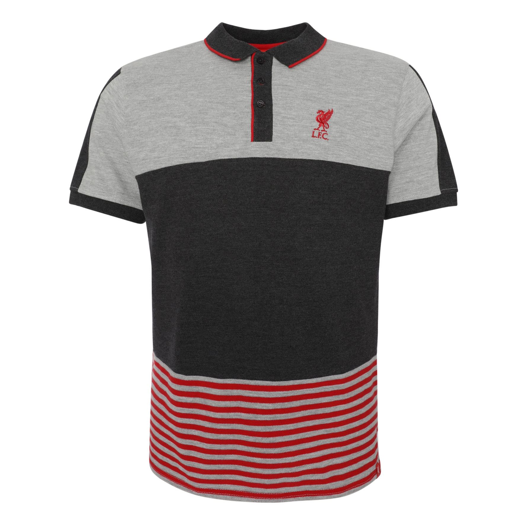 2541dafb4 Details about Liverpool FC Mens Football Colour Block Stripe Polo T-Shirt  SS19 LFC Official
