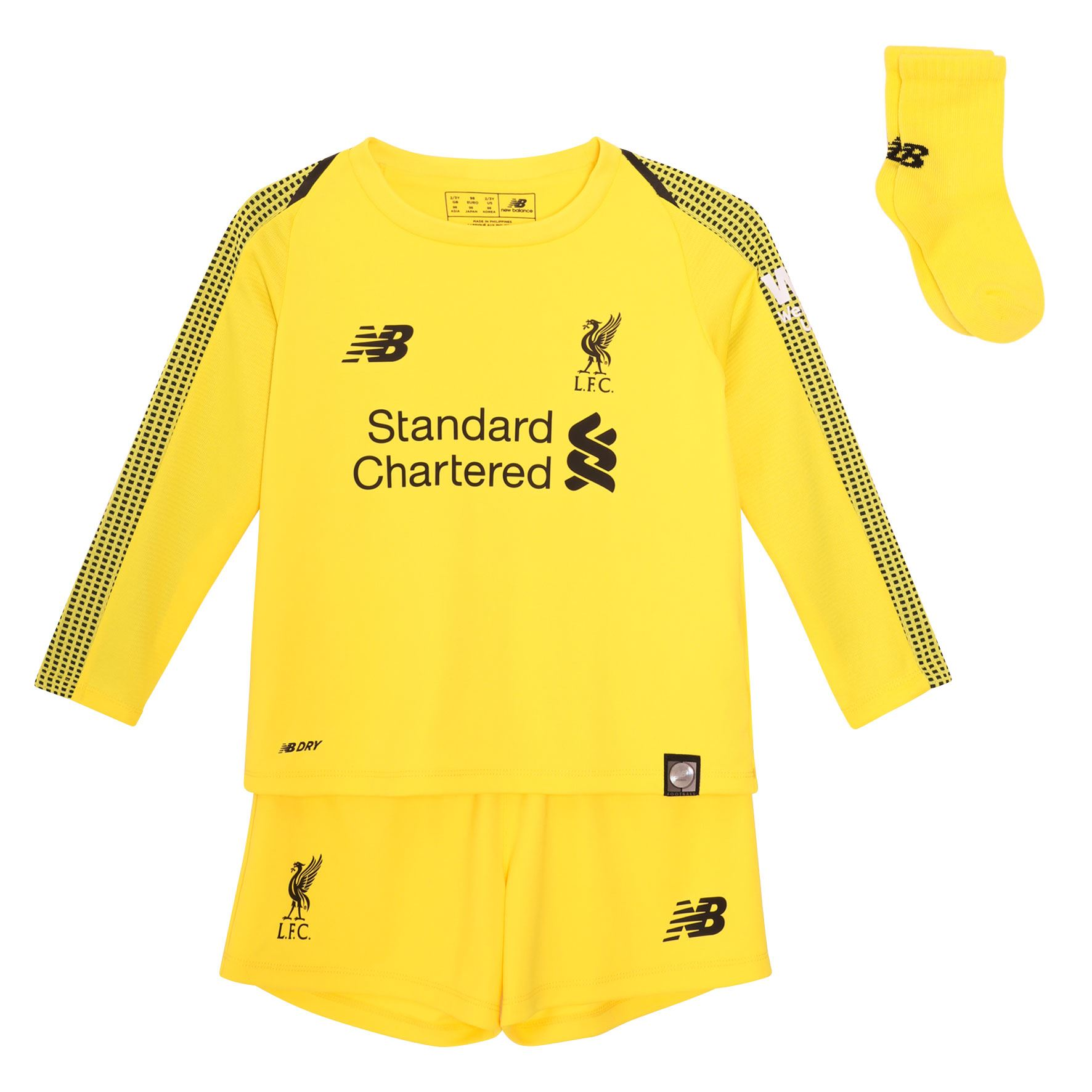 new style 6ff4e ecaf9 Details about Liverpool FC Home Kit Yellow Baby Football Goalkeeper Kit  18/19 LFC Official