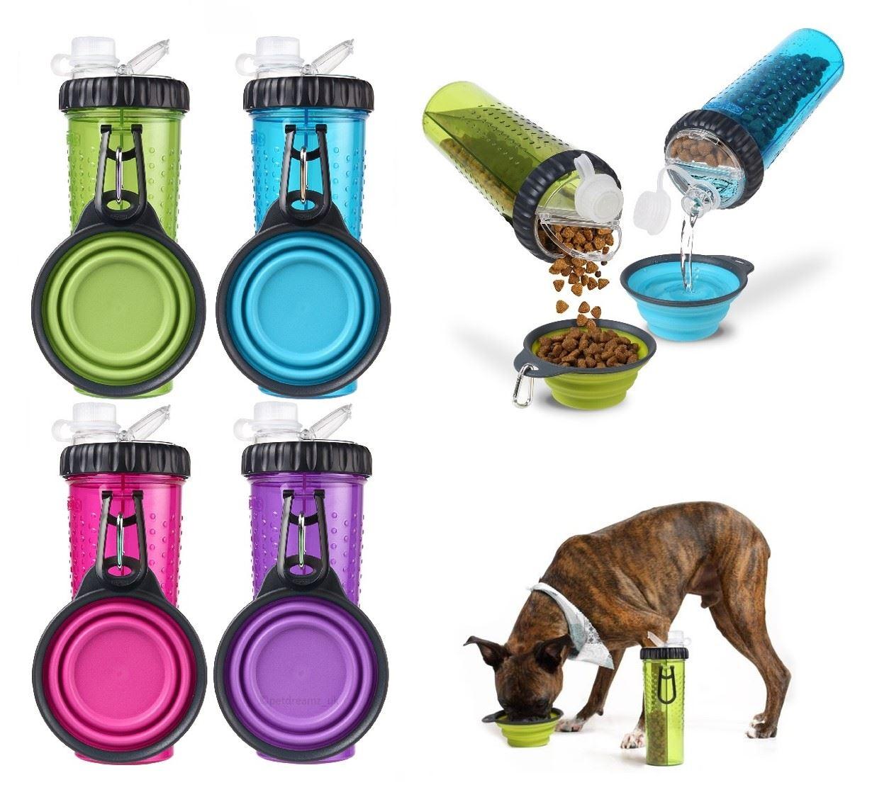 Portable Pet Travel Water Bowl Bottle Dispenser Feeder Cat: Dexas Popware Snack-DuO Portable Travel Pet Dog Puppy Food