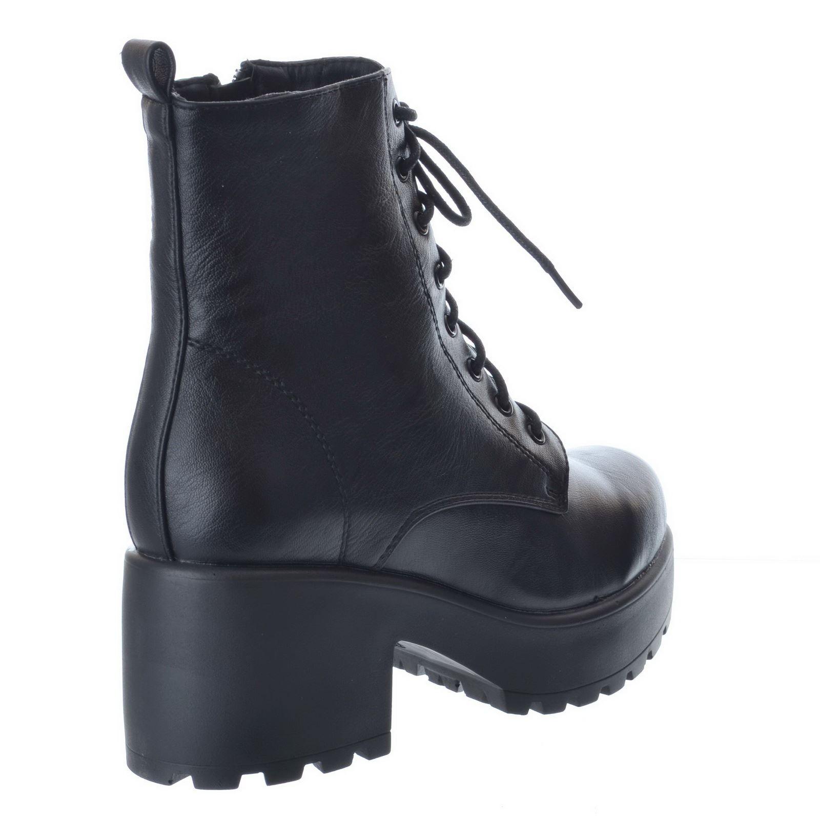 Cuir Lace Zip Faux De Bottines Biker Femmes Noir Combat Armée Plateforme Chaussures Femmes Up Pour 6BHxTwq