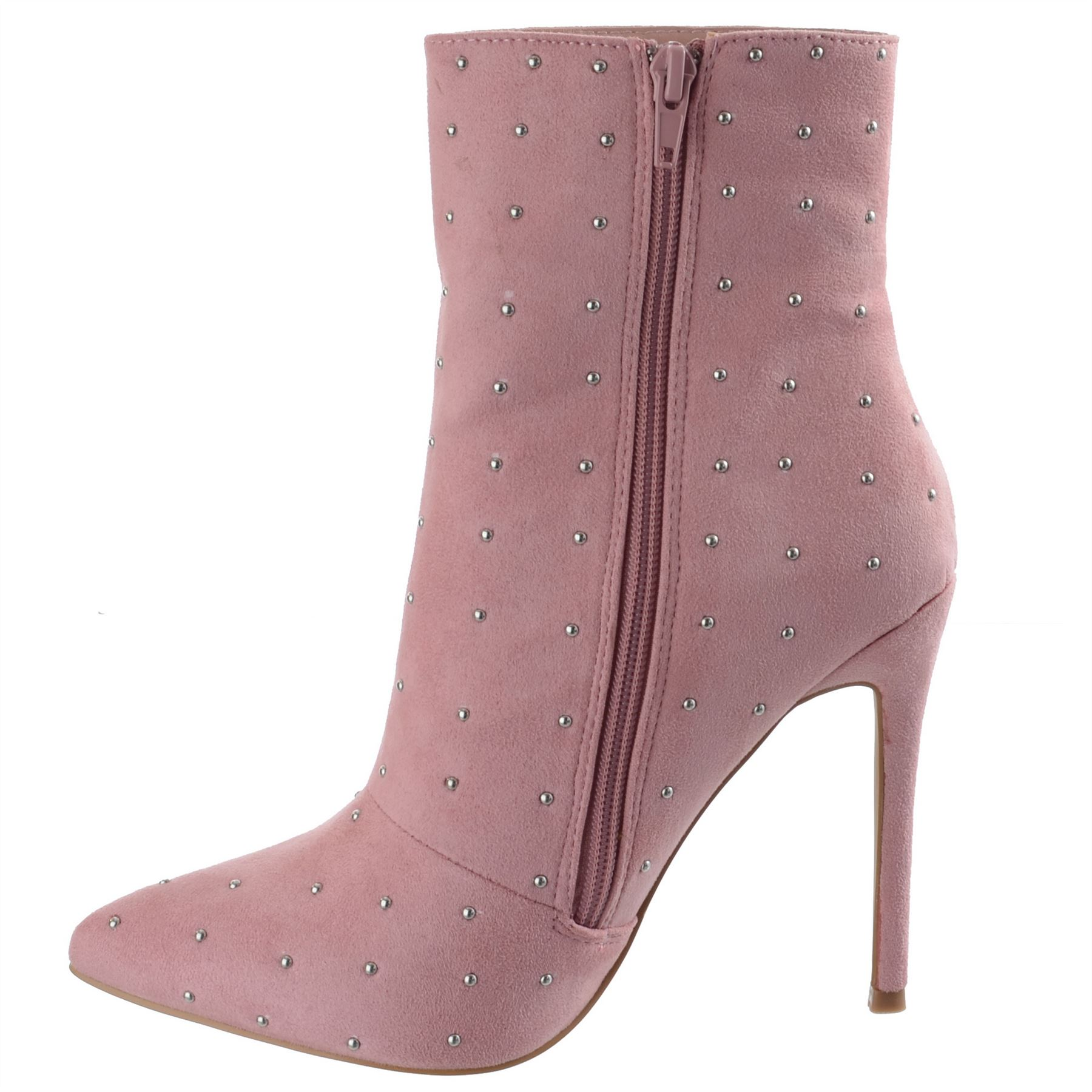 Ladies-Womens-High-Stiletto-Heel-Pointy-Toe-Zip-Up-Ankle-Boots-Shoes-Size-3-8 miniatuur 10