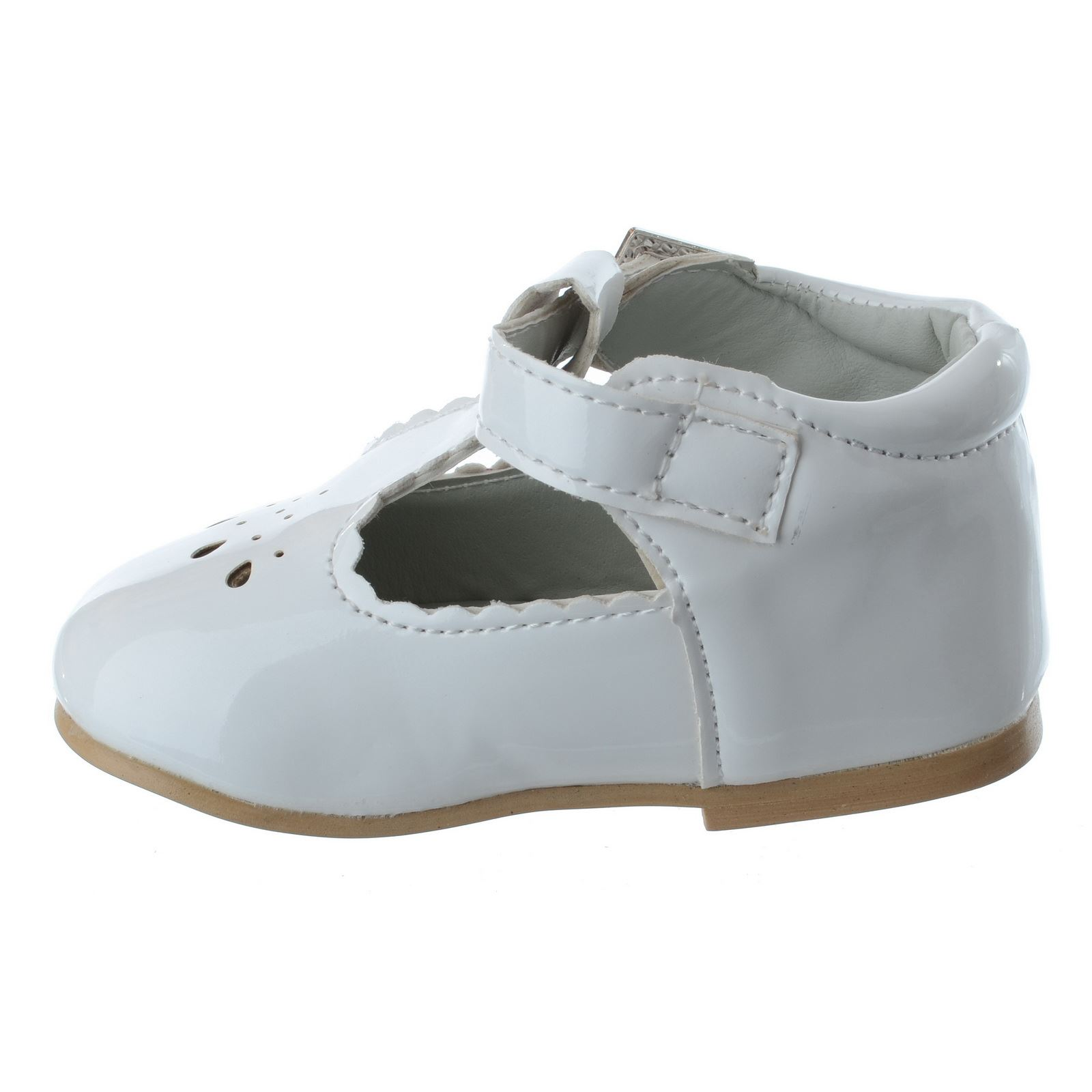 BABY GIRLS INFANTS TODDLER T BAR DIAMANTE BUCKLE PATENT FLAT KIDS