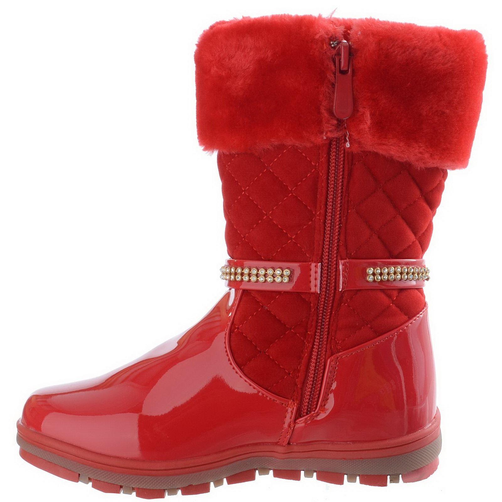 Filles-Enfants-Enfants-Hiver-Chaud-Matelasse-N-ud-Strass-Zip-Cheville-Bottes-Chaussures-Taille