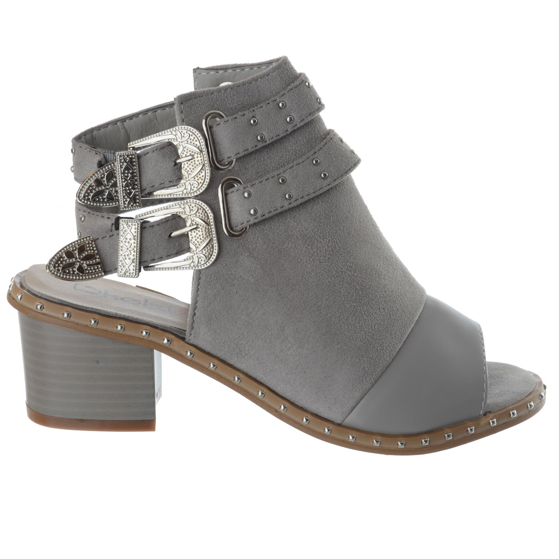 Womens-Ladies-Studded-Peep-Toe-Ankle-Strap-Chunky-Block-Heel-Sandals-Shoes-Size thumbnail 9