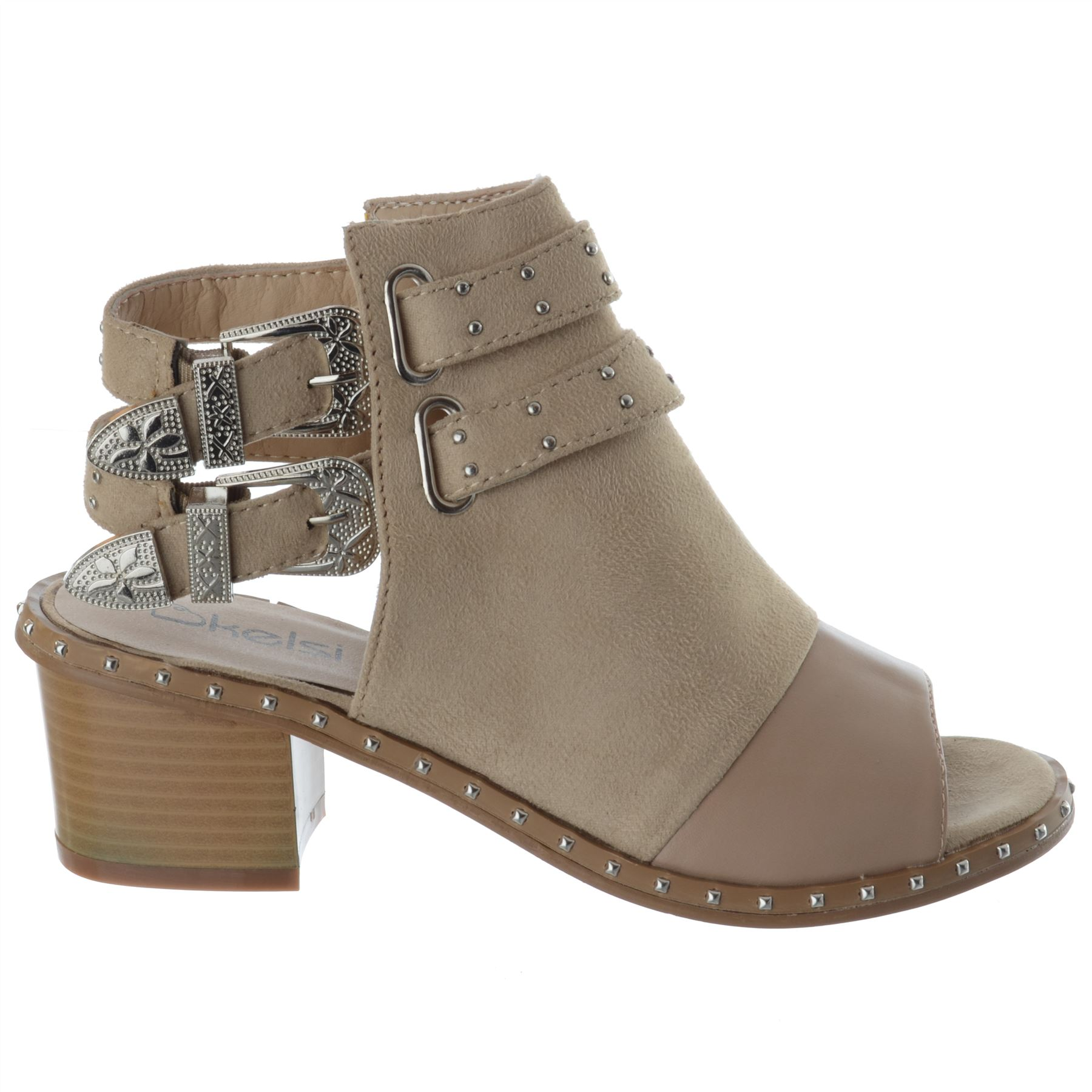 Womens-Ladies-Studded-Peep-Toe-Ankle-Strap-Chunky-Block-Heel-Sandals-Shoes-Size thumbnail 3