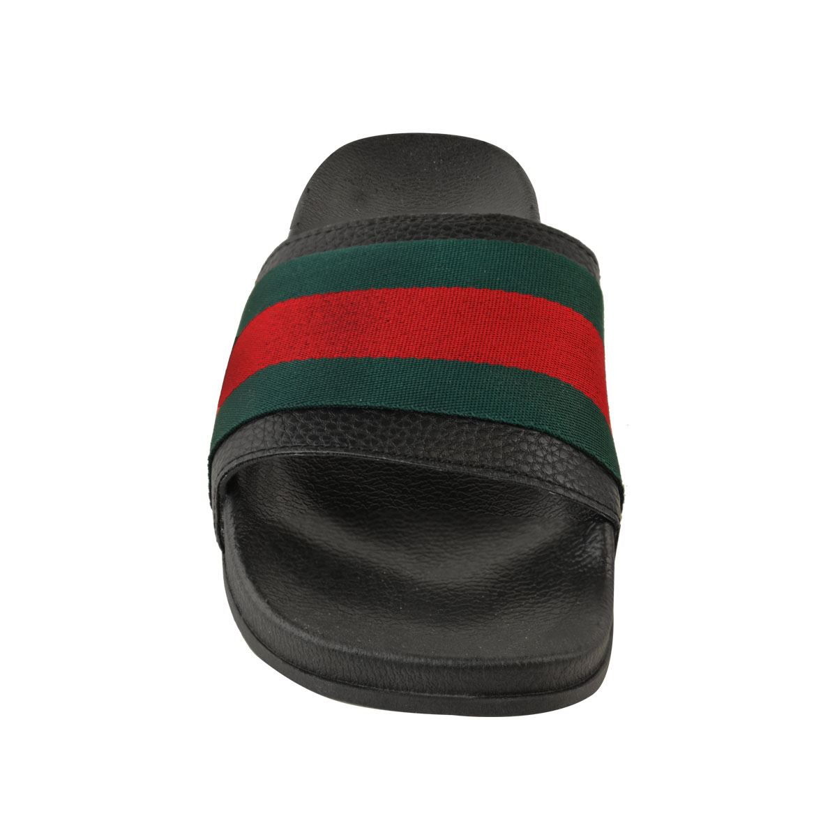 Womens-Ladies-Designer-Inspired-Celebrity-Red-Green-Striped-Slider-Sandals-Shoes thumbnail 6