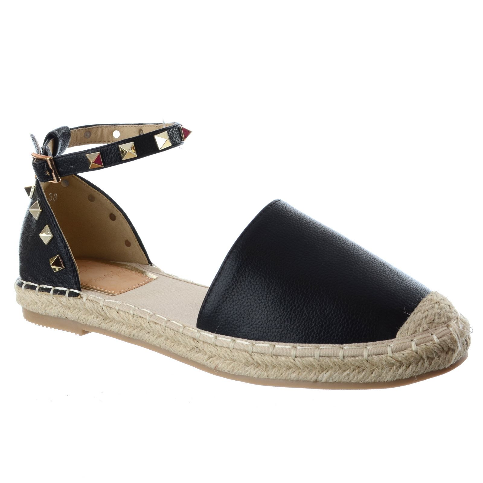 WOMENS LADIES FLAT LOW HEEL ANKLE STRAP STUDDED SUMMER ...