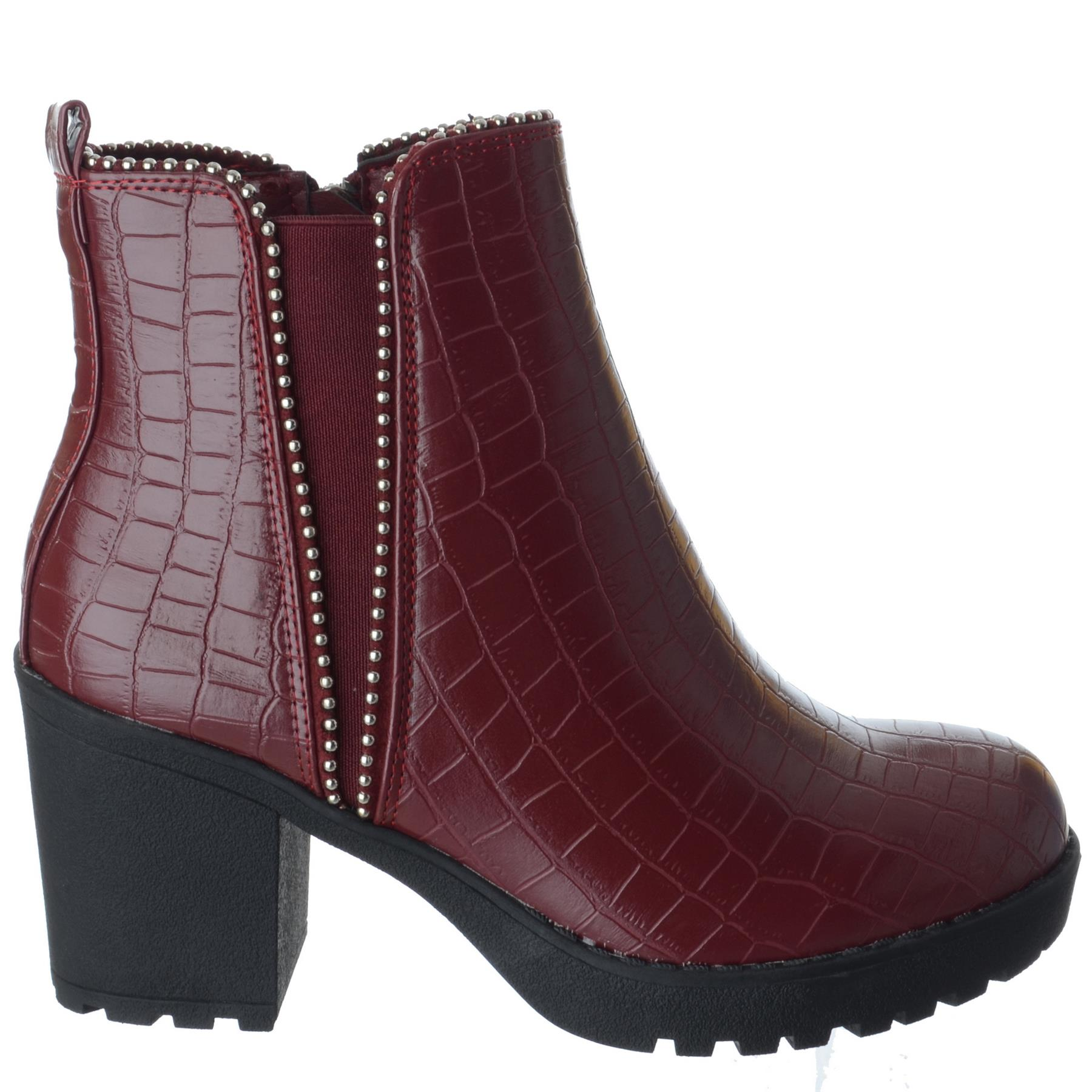 Womens Mid High Block Heel Zip Up Studded Ladies Chelsea Ankle Boots Shoes Size