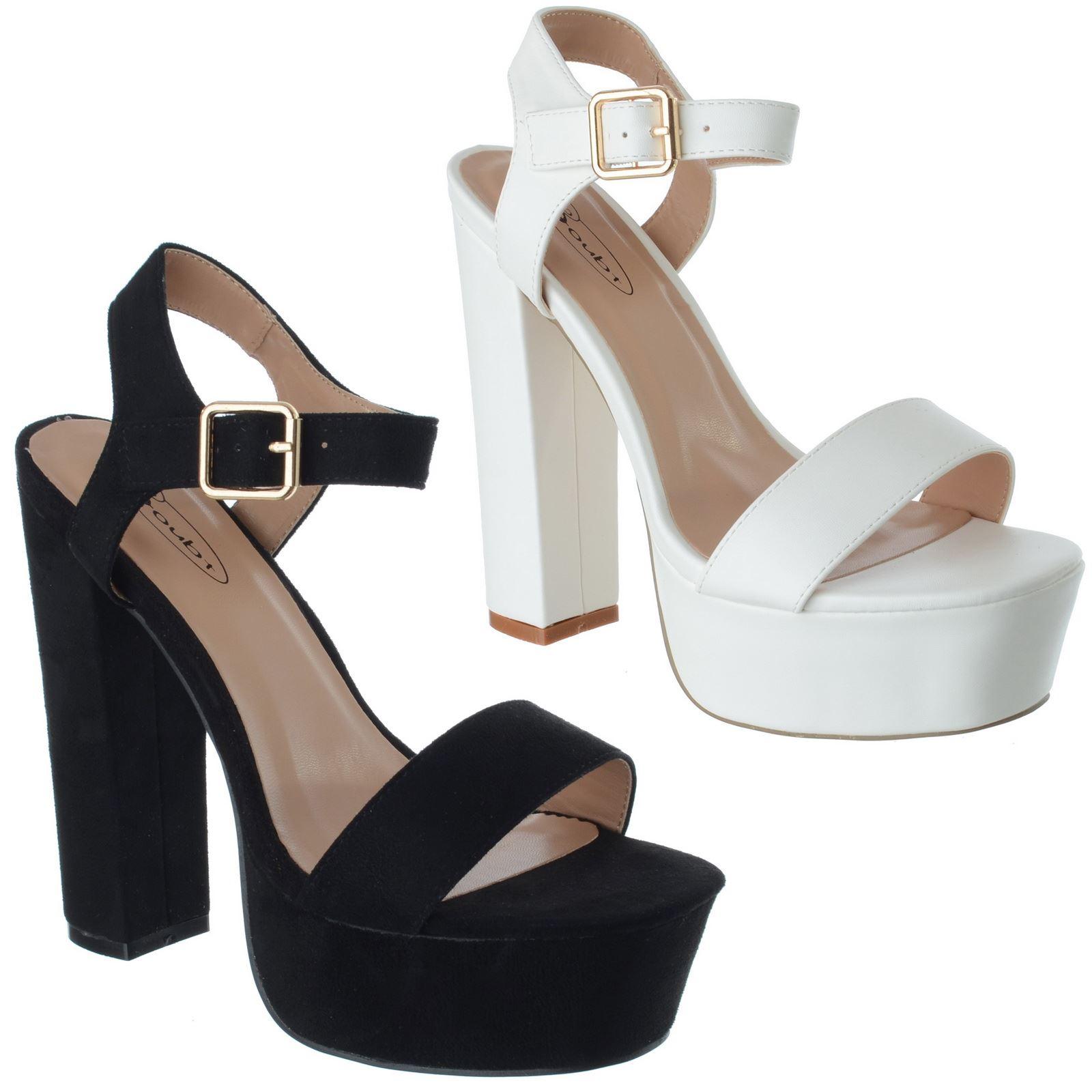 Sandali Donna Tacco e Plateau Blocco Tacchi Sandali Donna Scarpe Cinturino alla Caviglia Croce Taglia