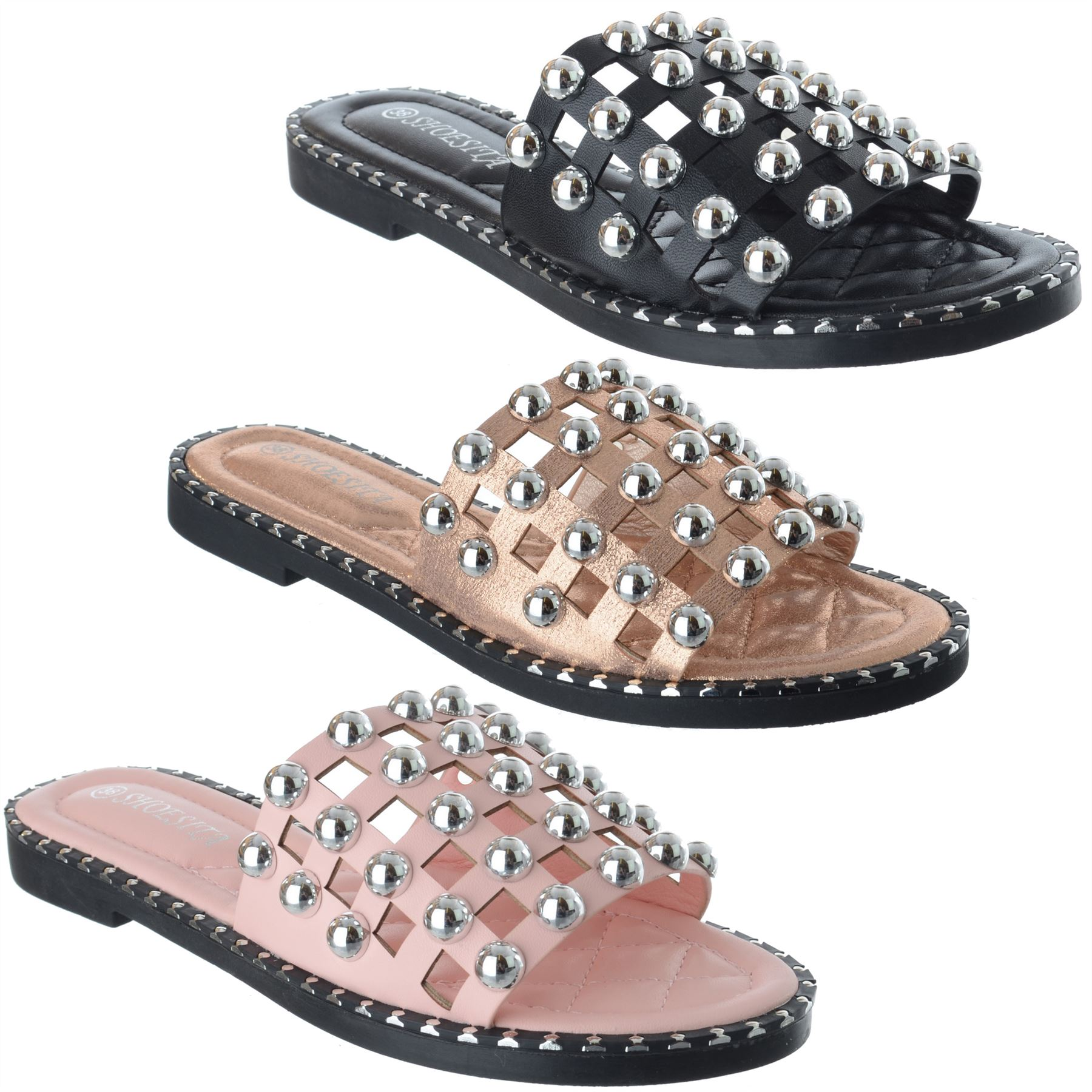 425ab6068b2 Details about Womens Ladies Flat Heel Studded Caged Slip On Summer Sliders  Sandals Shoes Size