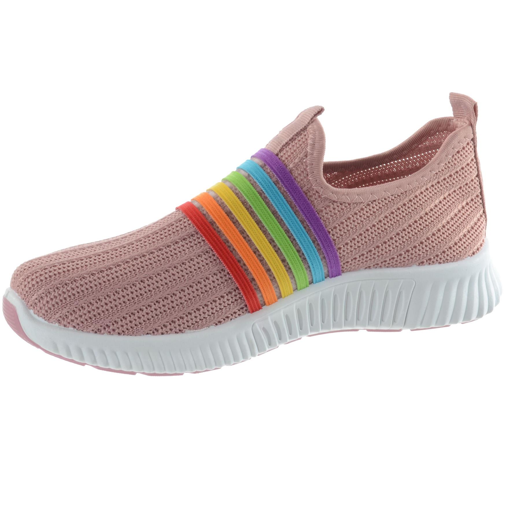 WOMENS LADIES SLIP ON COMFY CASUAL RAINBOW KNIT SNEAKERS TRAINERS PUMPS SIZE