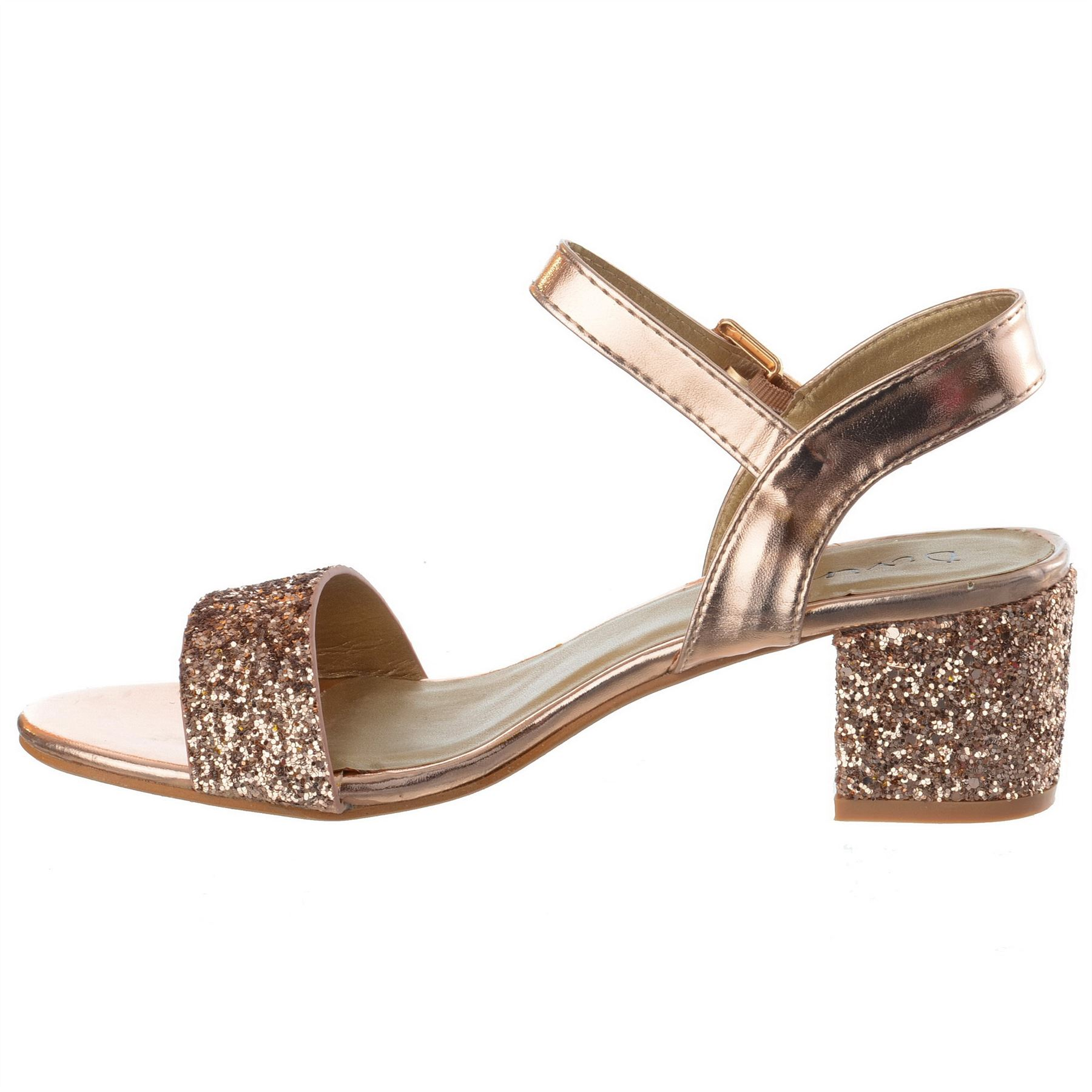 Ladies Womens Low Block Heel Party Bridal Glitter Sandals
