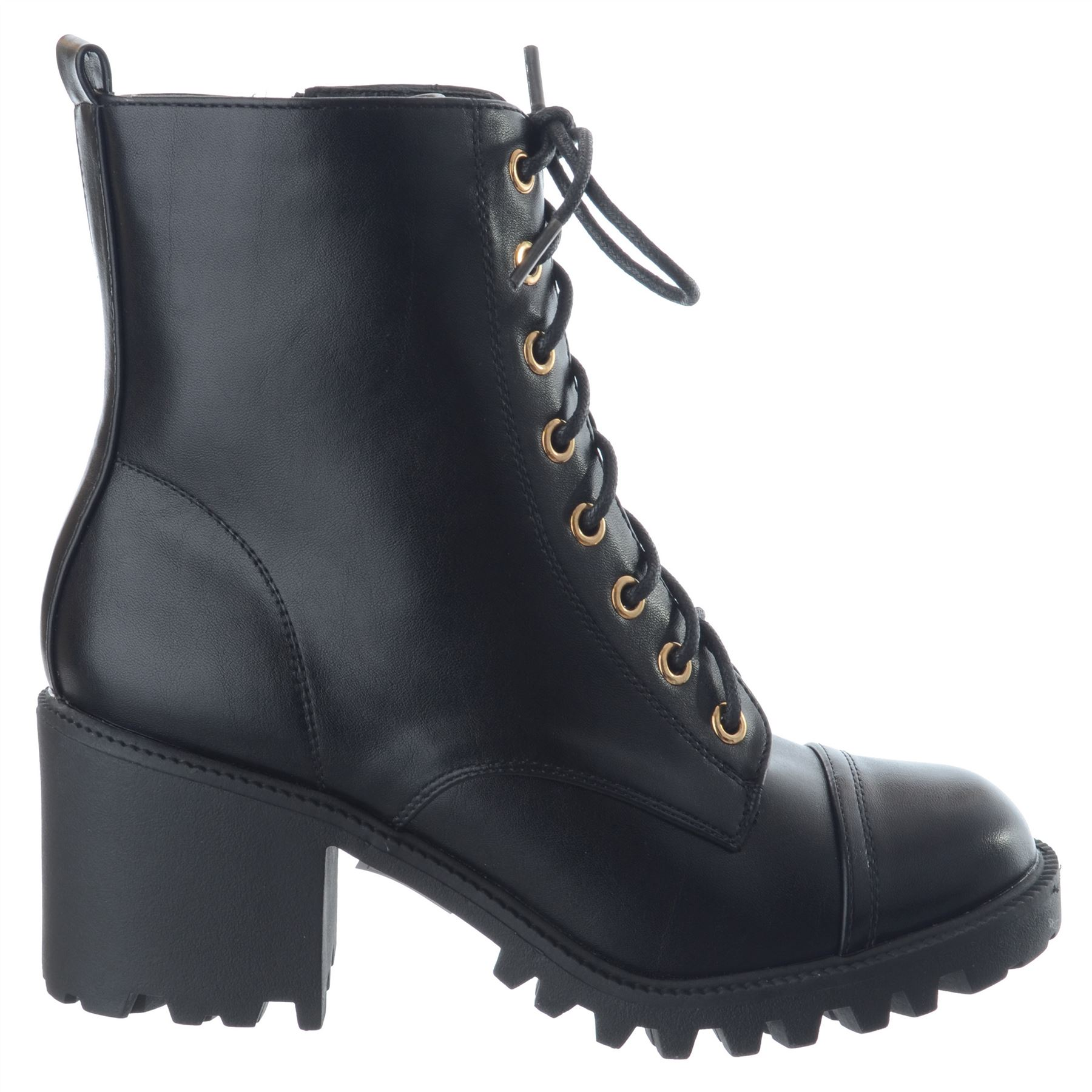 3bb31a1a2b87 Womens Ladies Lace Up Zip Rugged Sole Military Block Heel Ankle ...