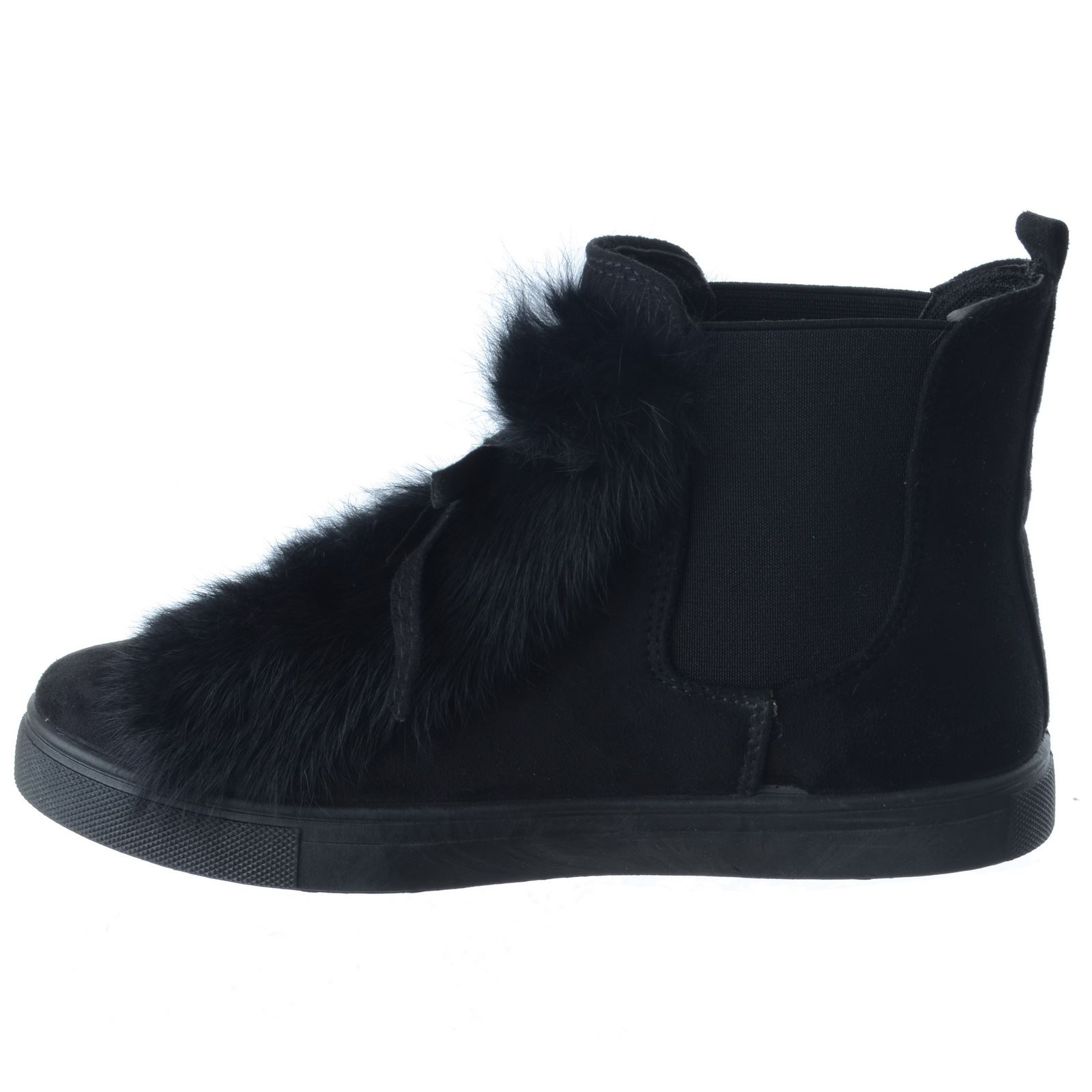 LADIES WOMENS LOW FLAT HEEL CHELSEA ANKLE BOOTS TRAINERS FUR PATCH SNEAKERS SIZE