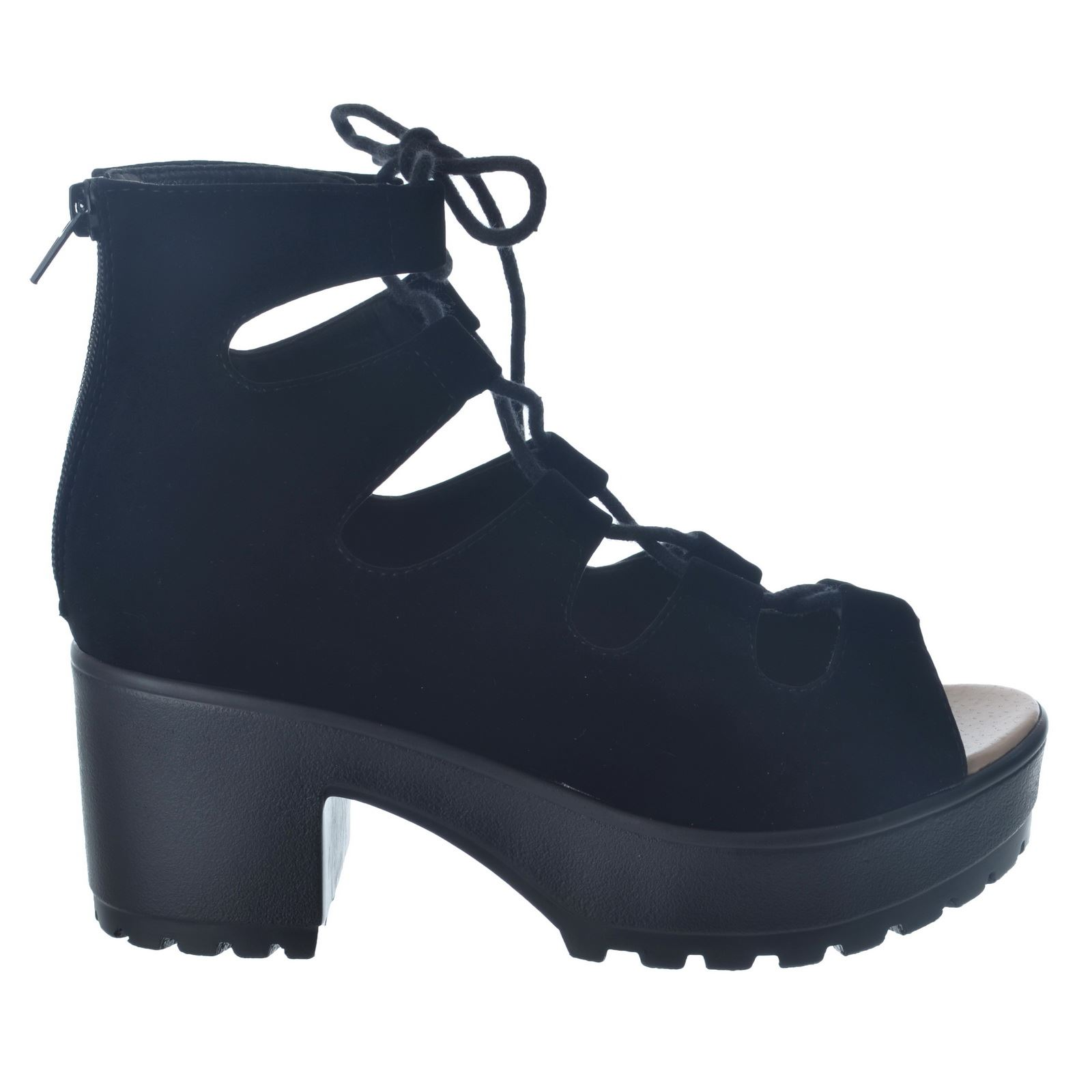 Black Chunky Cleated Sole Block Heel Sandals ($17) liked