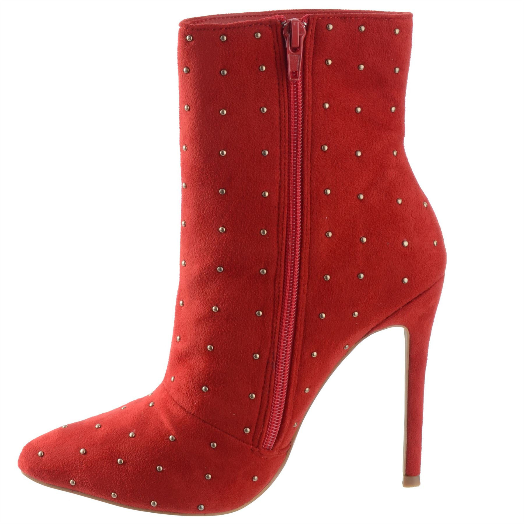 Ladies-Womens-High-Stiletto-Heel-Pointy-Toe-Zip-Up-Ankle-Boots-Shoes-Size-3-8 miniatuur 13