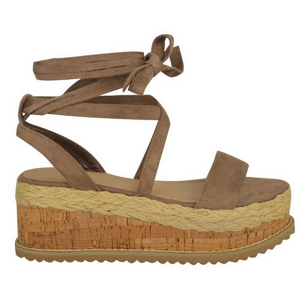 Womens Ladies Flatform Cork Espadrille Sandals Wedge Lace Up Ankle Shoes BL10
