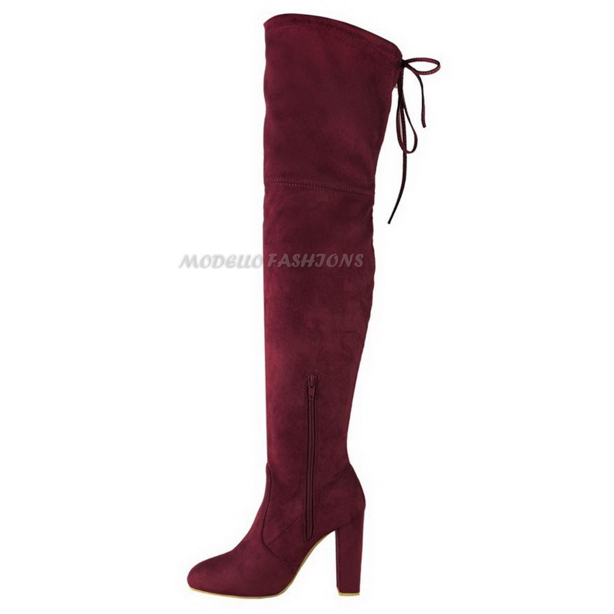 WOMENS-LADIES-THIGH-HIGH-BOOTS-OVER-THE-KNEE-PARTY-STRETCH-BLOCK-MID-HEEL-SIZE miniatuur 7