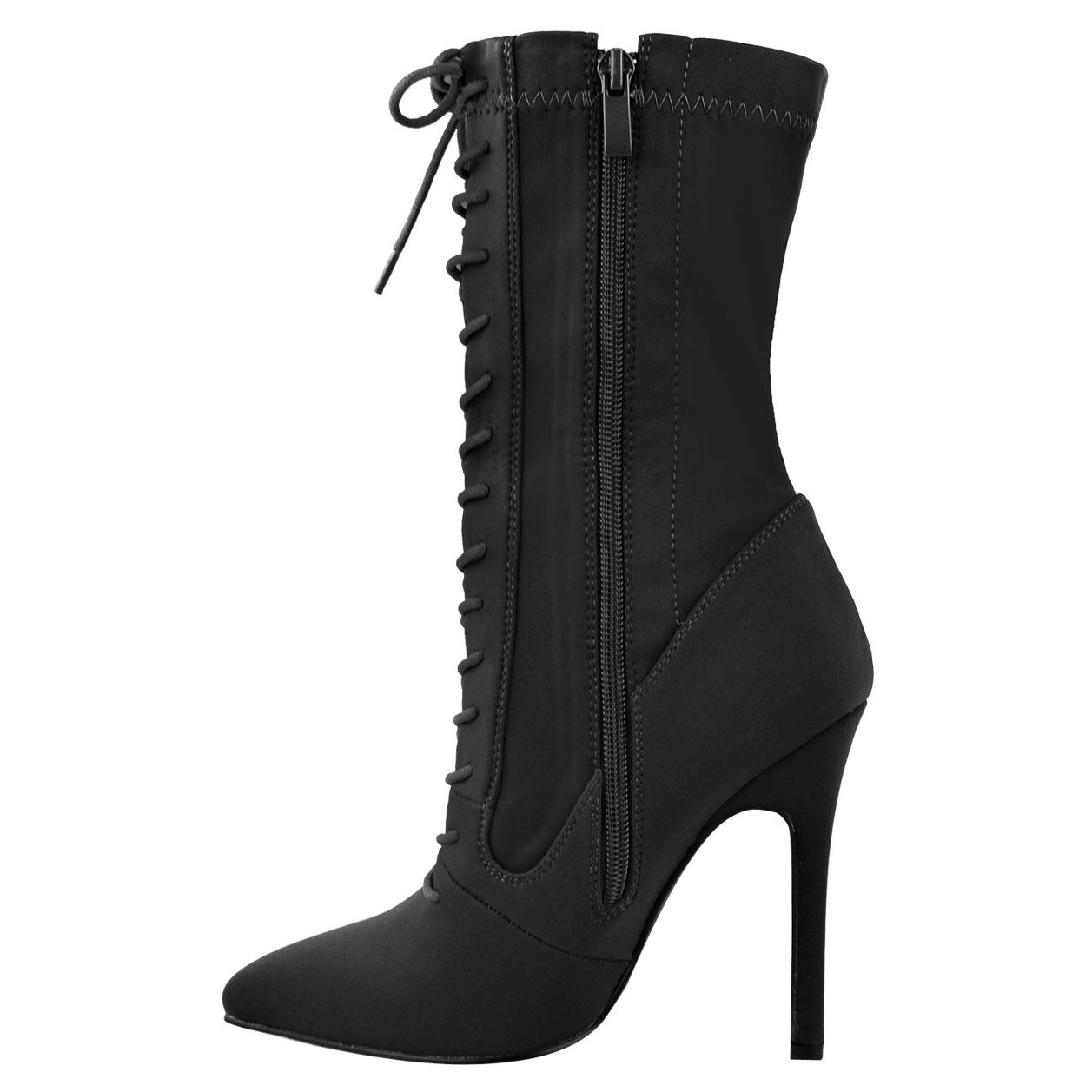 WOMENS-LADIES-HIGH-STILETTO-HEELED-LACE-ZIP-UP-POINTED-TOE-SOCK-BOOTS-SHOES-SIZE