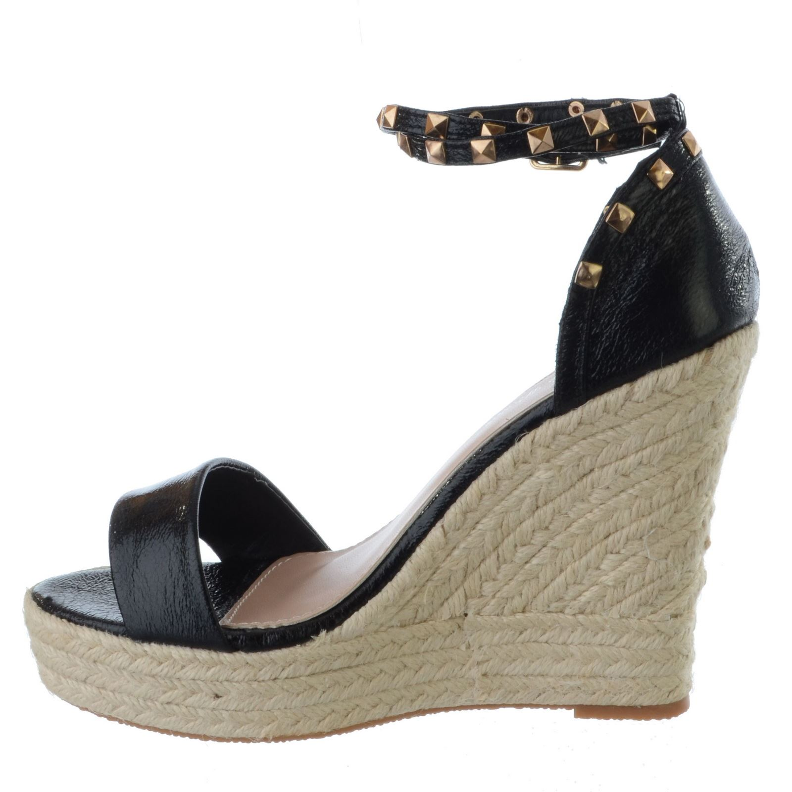 LADIES WOMENS HIGH HEEL WEDGE ESPADRILLES STUDDED ANKLE STRAP ...