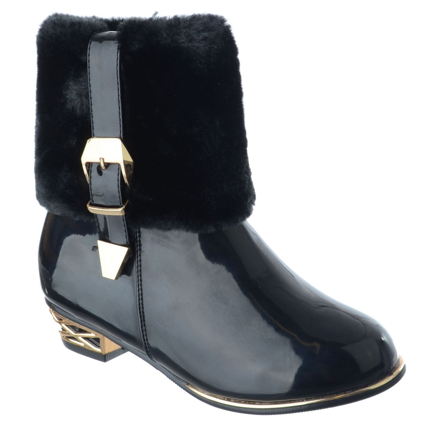 GIRLS KIDS WINTER WARM FUR LINED FUR LINED FANCY PARTY ANKLE BOOTS SHOES SIZE