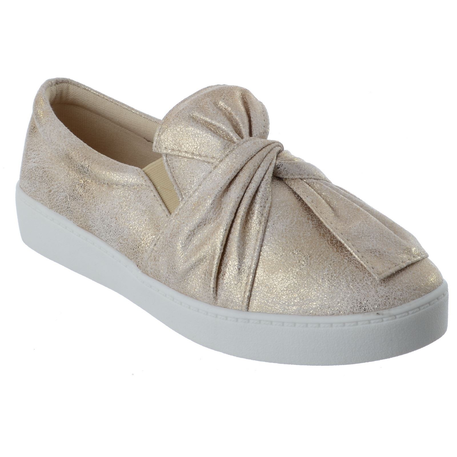 NEW LADIES WOMENS FLAT LOW HEEL BOW SLIP ON TRAINERS SNEAKERS PUMPS SHOES SIZE