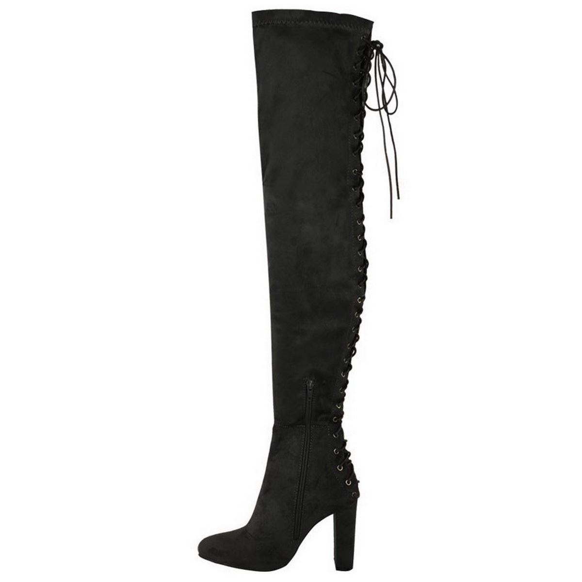 WOMENS LADIES OVER THE KNEE THIGH HIGH BLOCK HEEL LACE BACK STRETCH BOOTS SIZE