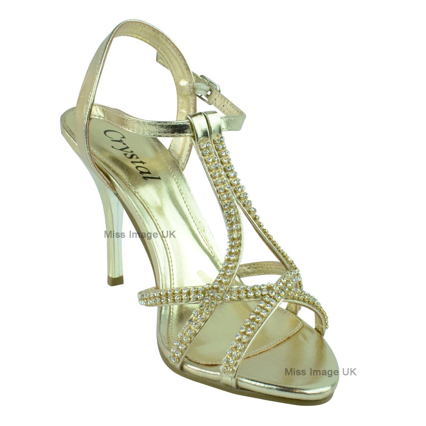Mujer señoras de Boda nupcial Baile de graduación Fiesta Zapato Taco Alto Sandalias Zapatos Talla