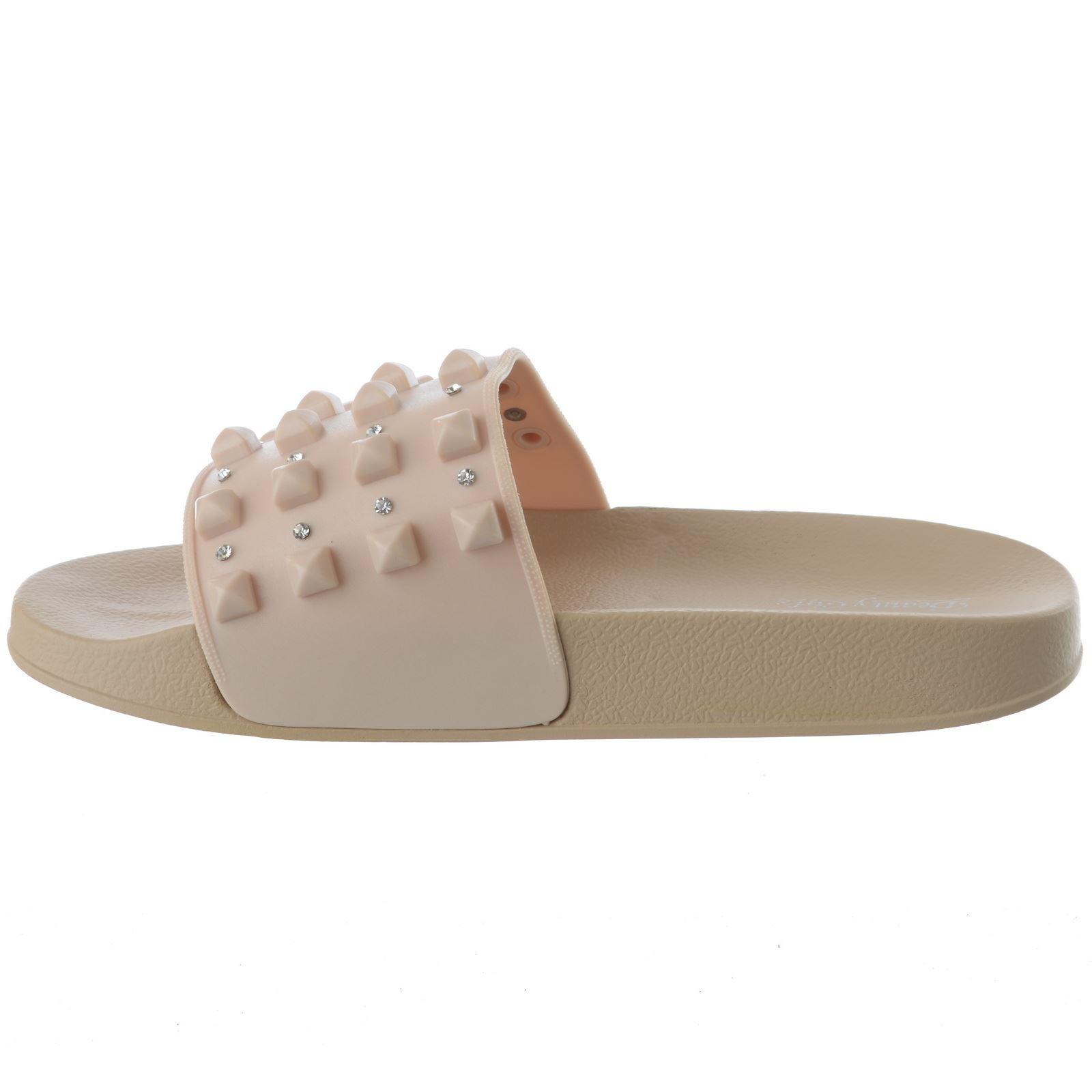Nuevo Para mujeres Damas Plana Slip On tachonado Diamante deslizadores Mulas Sandalias Zapatos Talla