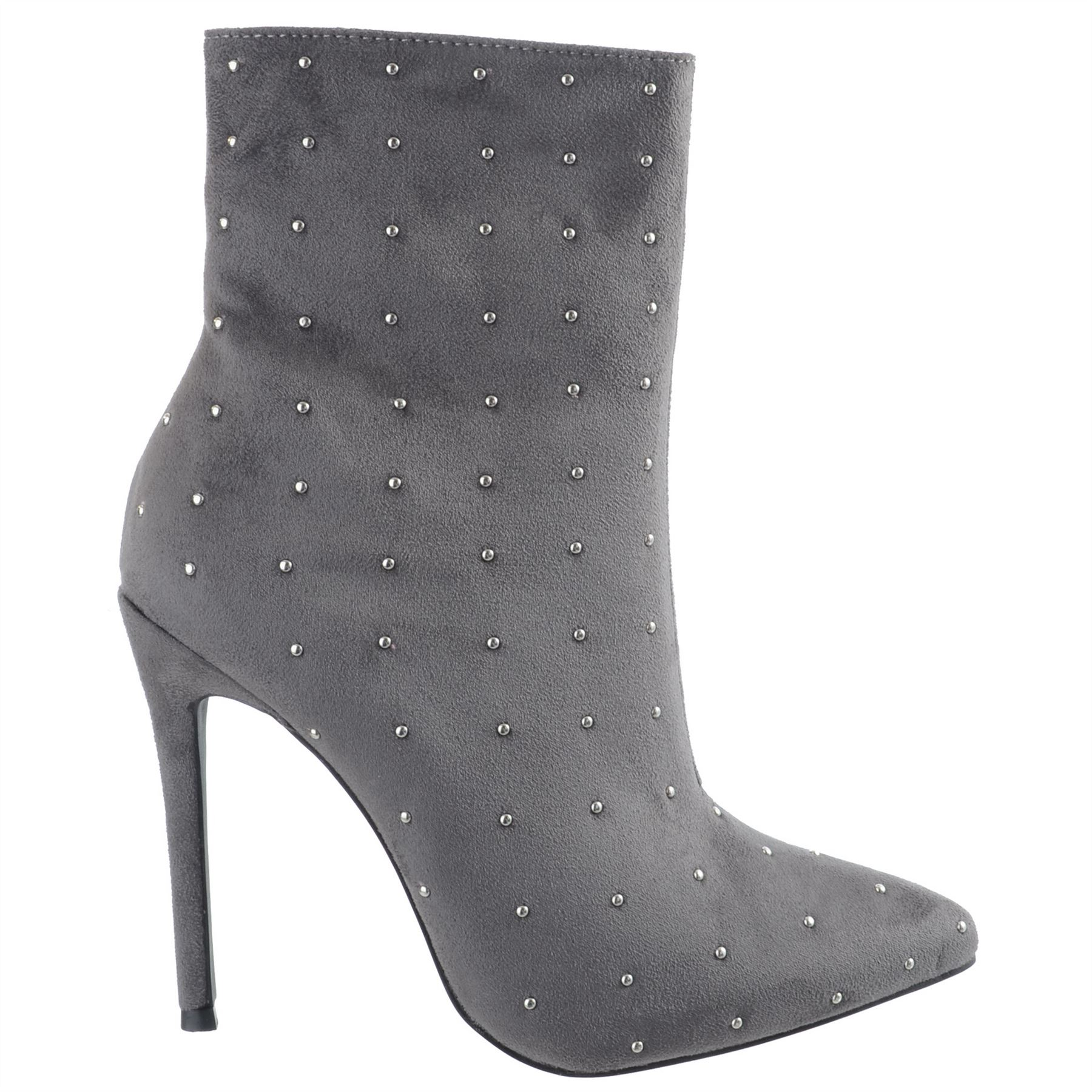 Ladies-Womens-High-Stiletto-Heel-Pointy-Toe-Zip-Up-Ankle-Boots-Shoes-Size-3-8 miniatuur 6
