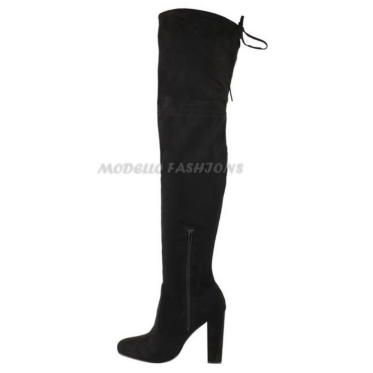 WOMENS-LADIES-THIGH-HIGH-BOOTS-OVER-THE-KNEE-PARTY-STRETCH-BLOCK-MID-HEEL-SIZE miniatuur 4