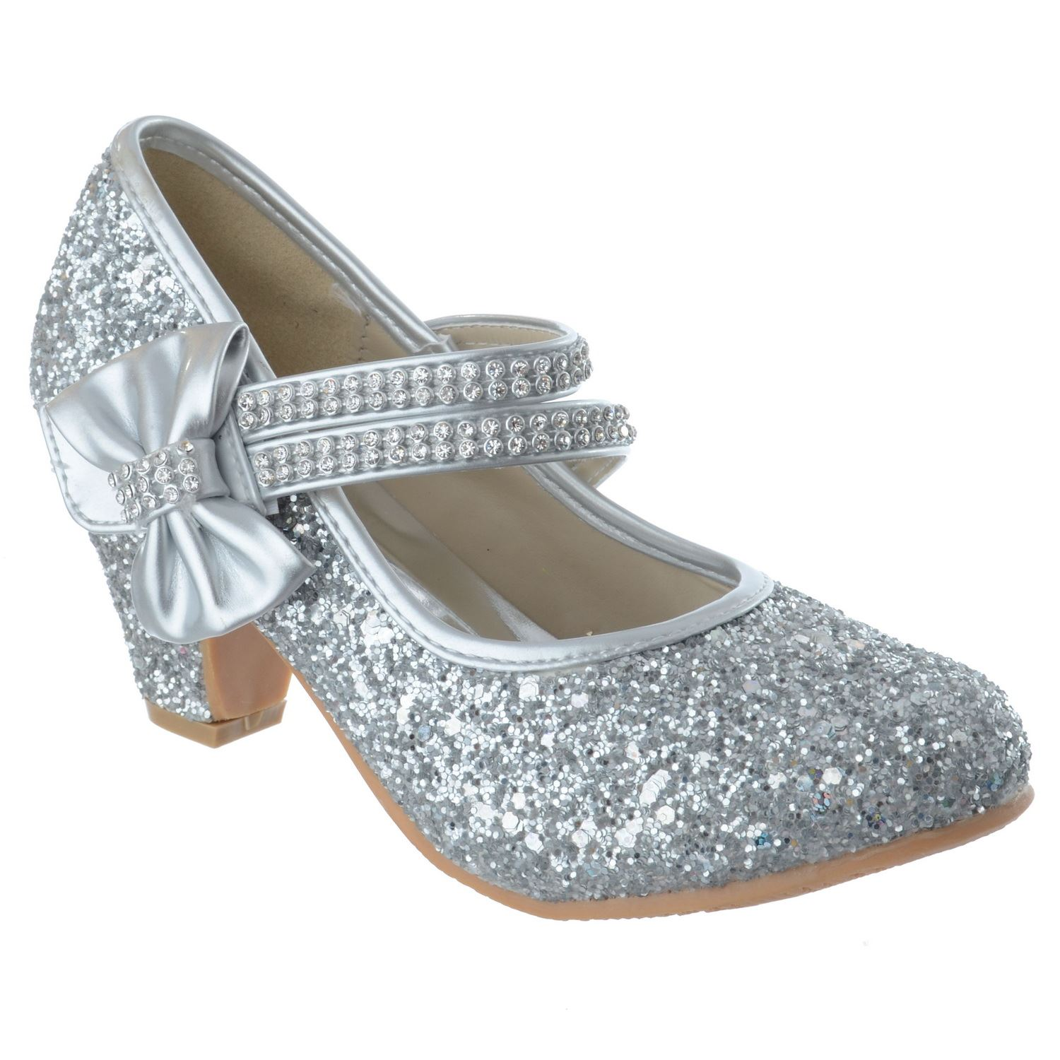 GIRLS KIDS LOW HEEL PARTY WEDDING DIAMANTE GLITTER MARY JANE COURT SHOES SIZE