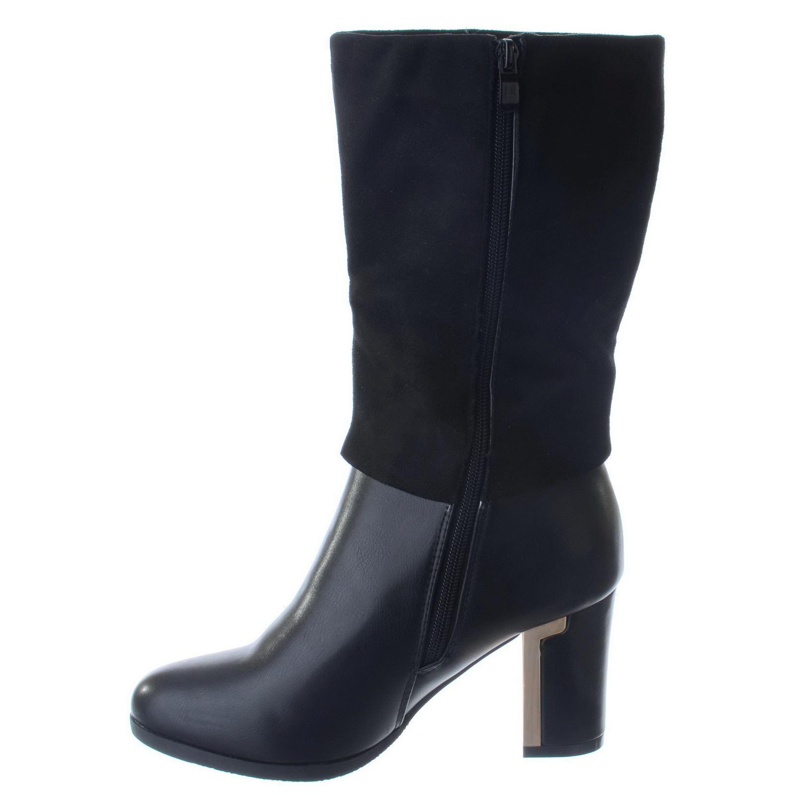 Zip bloc Suede dames Calf d'équitation Chaussures Noir Bottes Taille Up Leather Mid Nouvelles femmes Diamante Faux talon aEHxTwHIpq