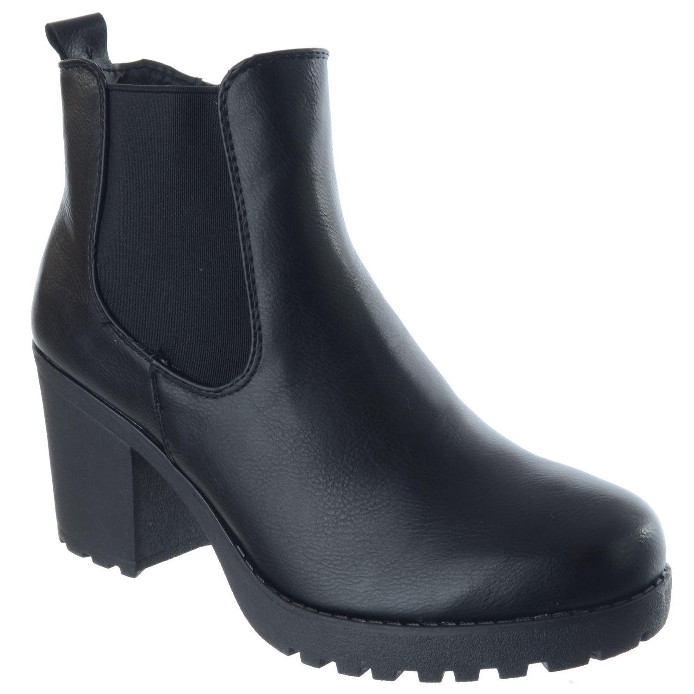 Description Summary. Ladies Womens Platform Block High Heel Zip Chelsea  Ankle Boots Office Shoes Size dc1f5d88d82