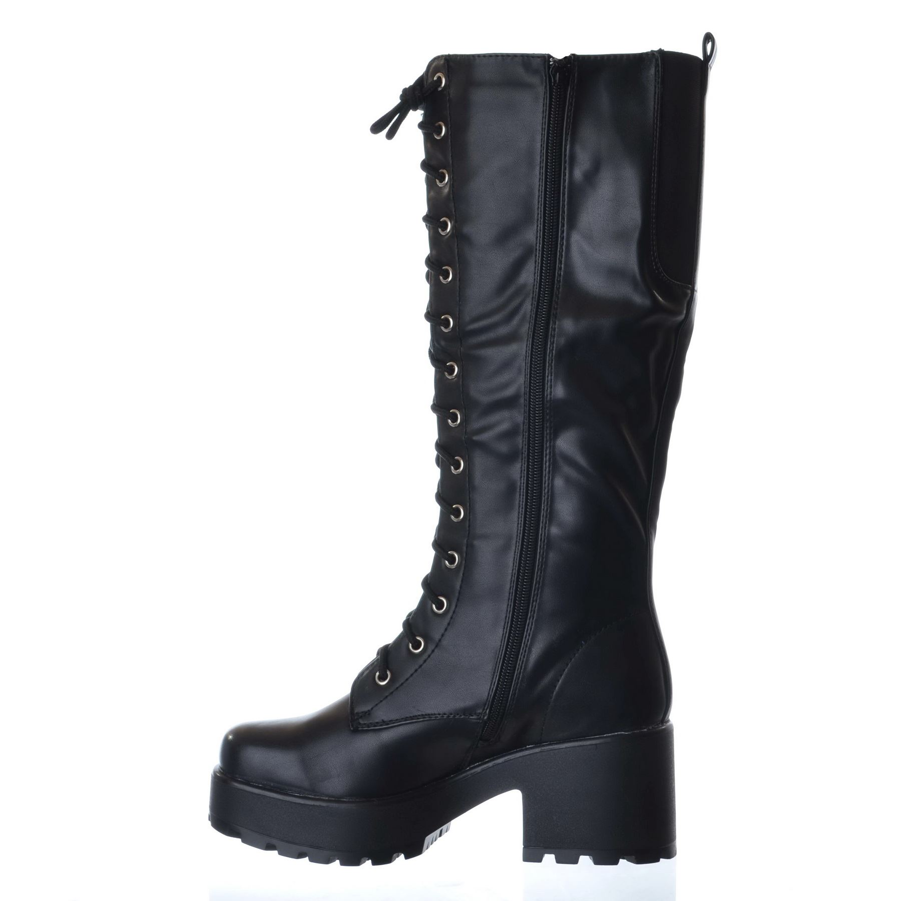 NEW-LADIES-WOMENS-KNEE-HIGH-CHUNKY-PLATFORM-MID-BLOCK-HEEL-LACE-UP-ZIP-UP-BOOTS thumbnail 5