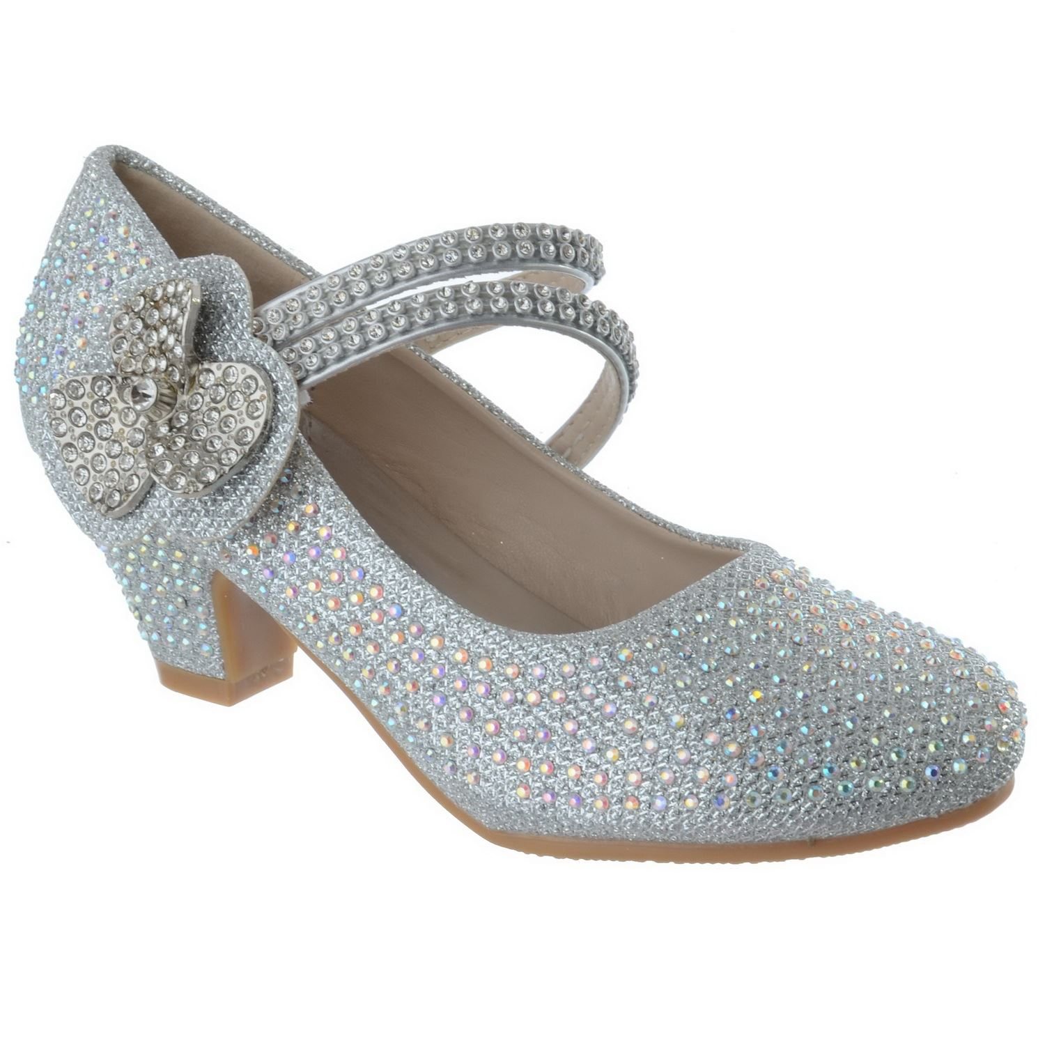 GIRLS KIDS CHILDRENS LOW HEEL PARTY WEDDING DIAMANTE STYLE SANDALS SHOES SIZE