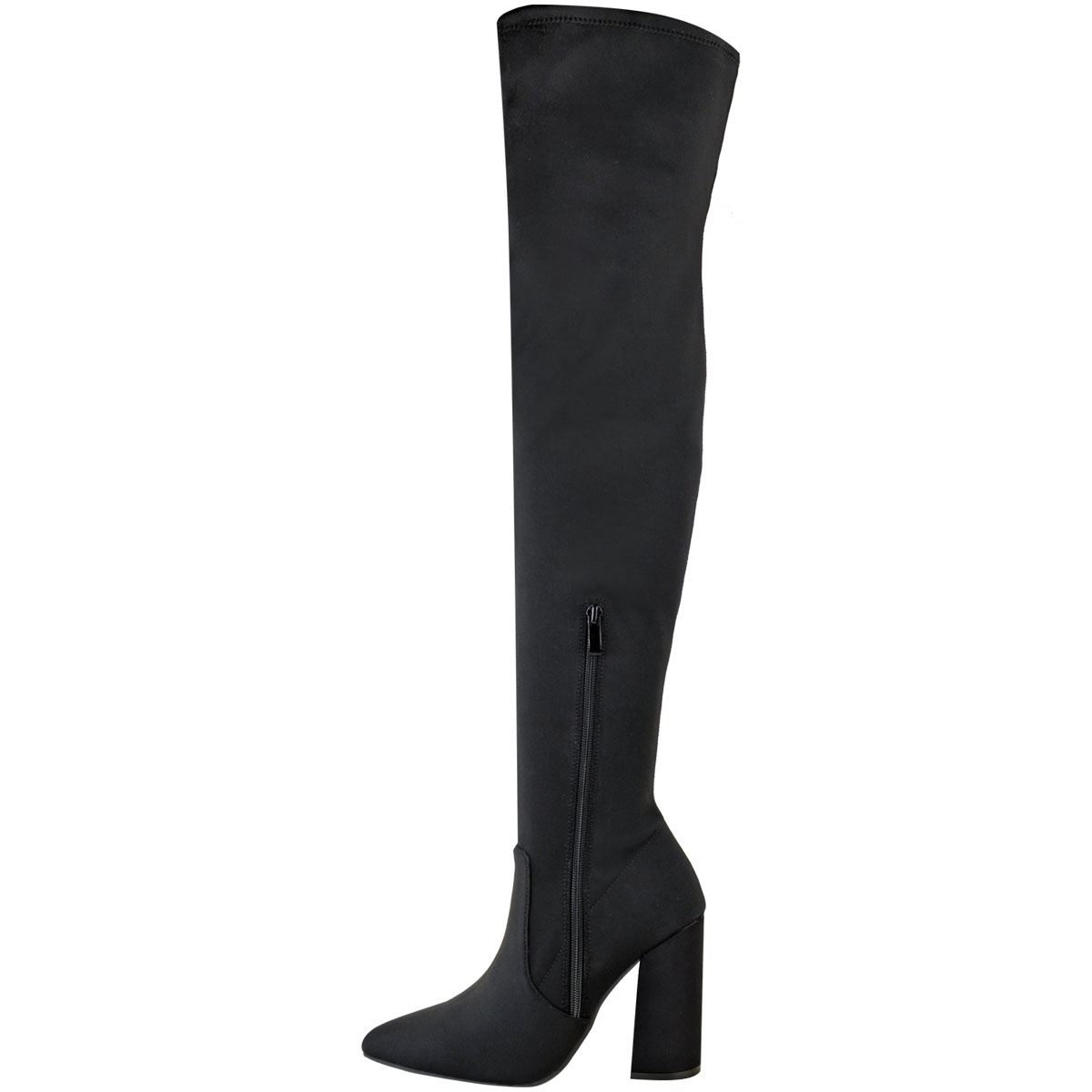 Womens-Ladies-Pointy-Toe-Block-Heels-Over-The-Knee-Stretch-Thigh-High-Boots-Size