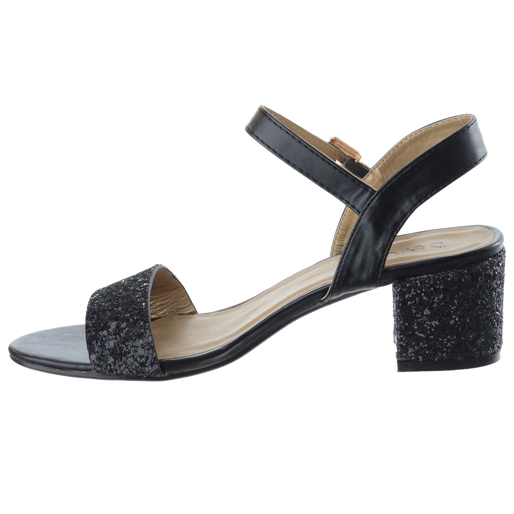 Ladies Womens Low Block Heel Party Bridal Glitter Sandals ...
