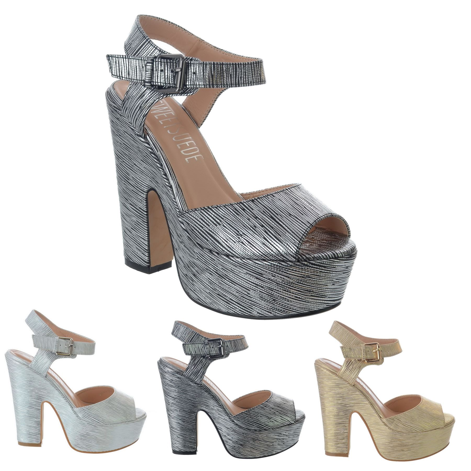 Details about LADIES WOMENS CHUNKY HIGH BLOCK HEEL STRAPPY PLATFORM WEDGE SANDALS SHOES SIZE