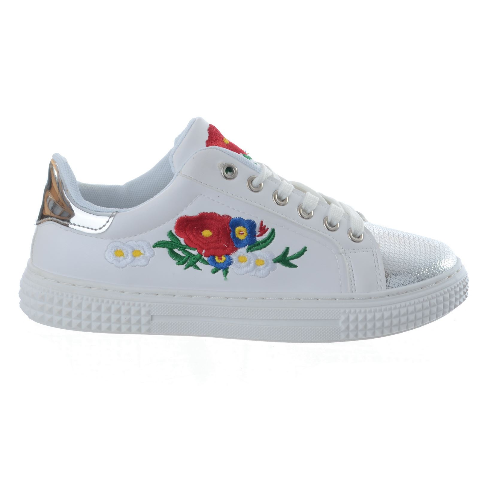 17cffc3d68e LADIES WOMENS FLOWER EMBROIDERED LACE UP FLAT PLATFORM TRAINERS ...