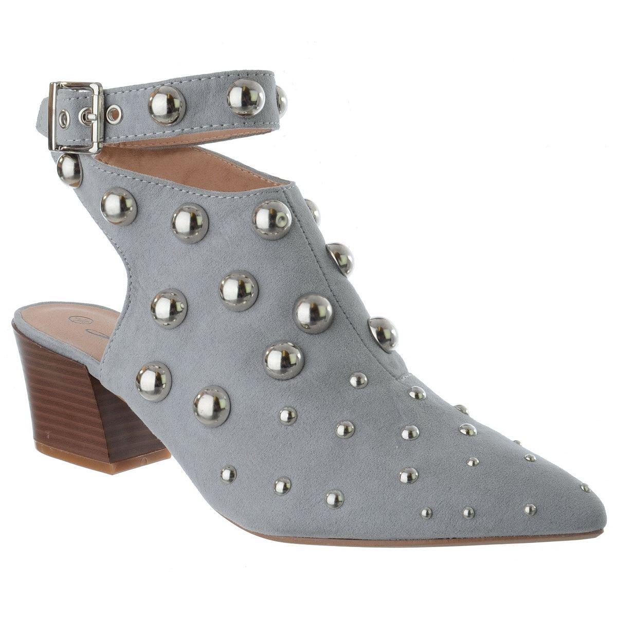 WOMENS-MID-LOW-BLOCK-HEEL-STUDS-POINTY-TOE-ANKLE-STRAP-LADIES-SHOE-BOOTS-SIZE